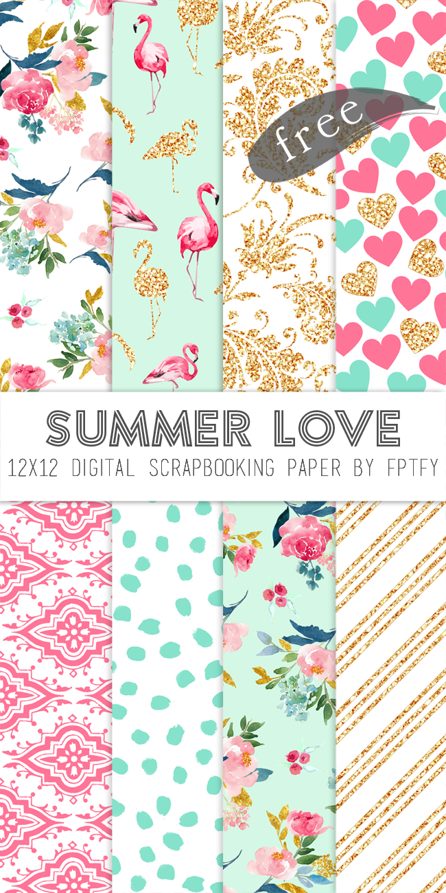 Free Digital Scrapbook Paper-Summer Love | Planner Printables - Free Printable Paper