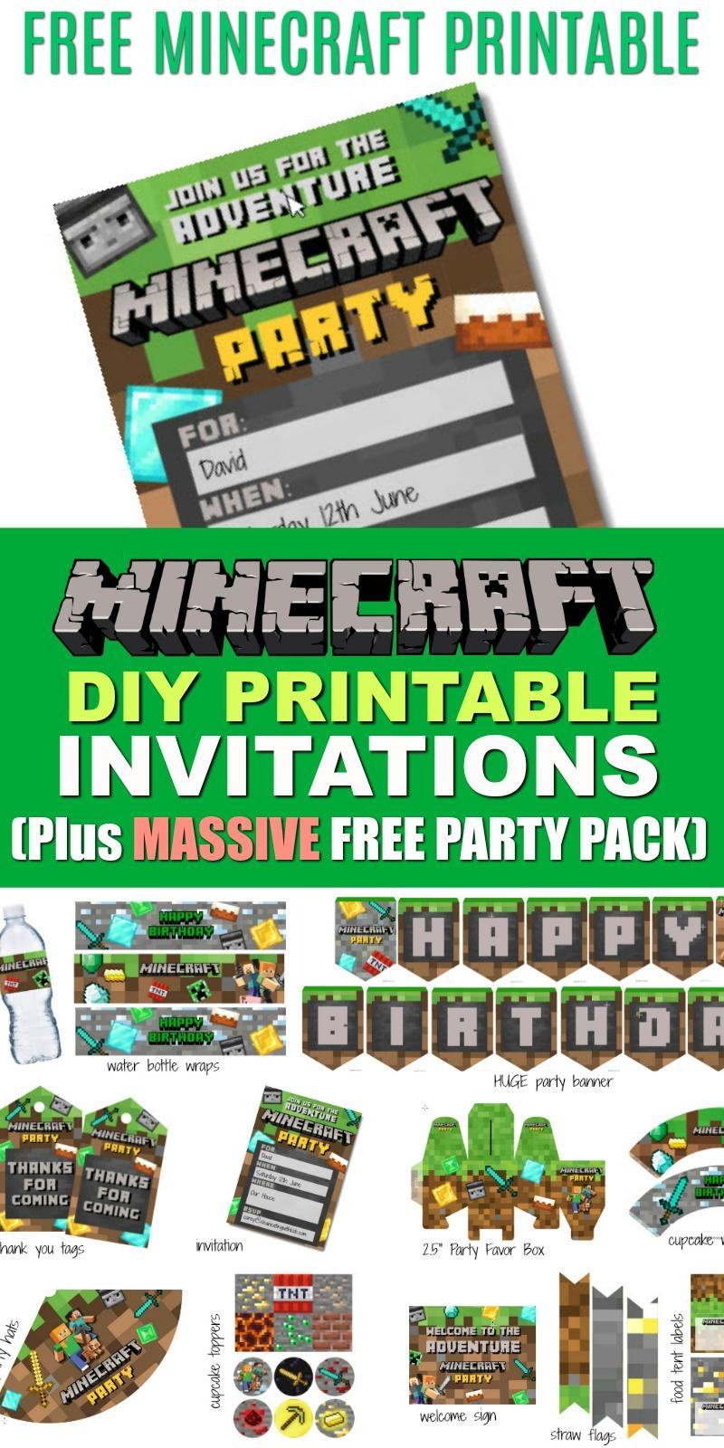 Free Diy Printable Minecraft Birthday Invitation - Clean Eating With - Free Printable Minecraft Invitations