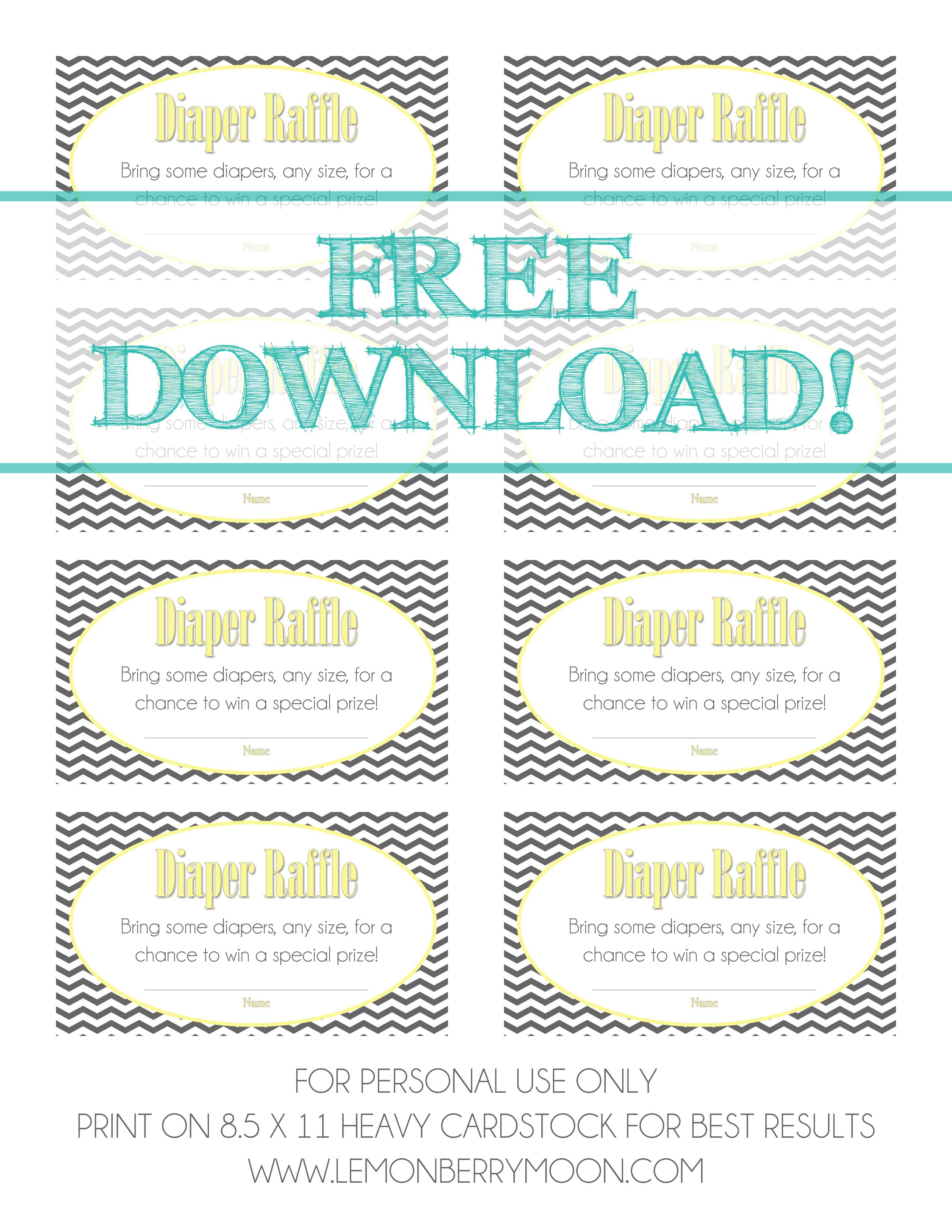 Free Download - Baby Diaper Raffle Template   Baaby Shower   Baby - Free Printable Diaper Raffle Ticket Template