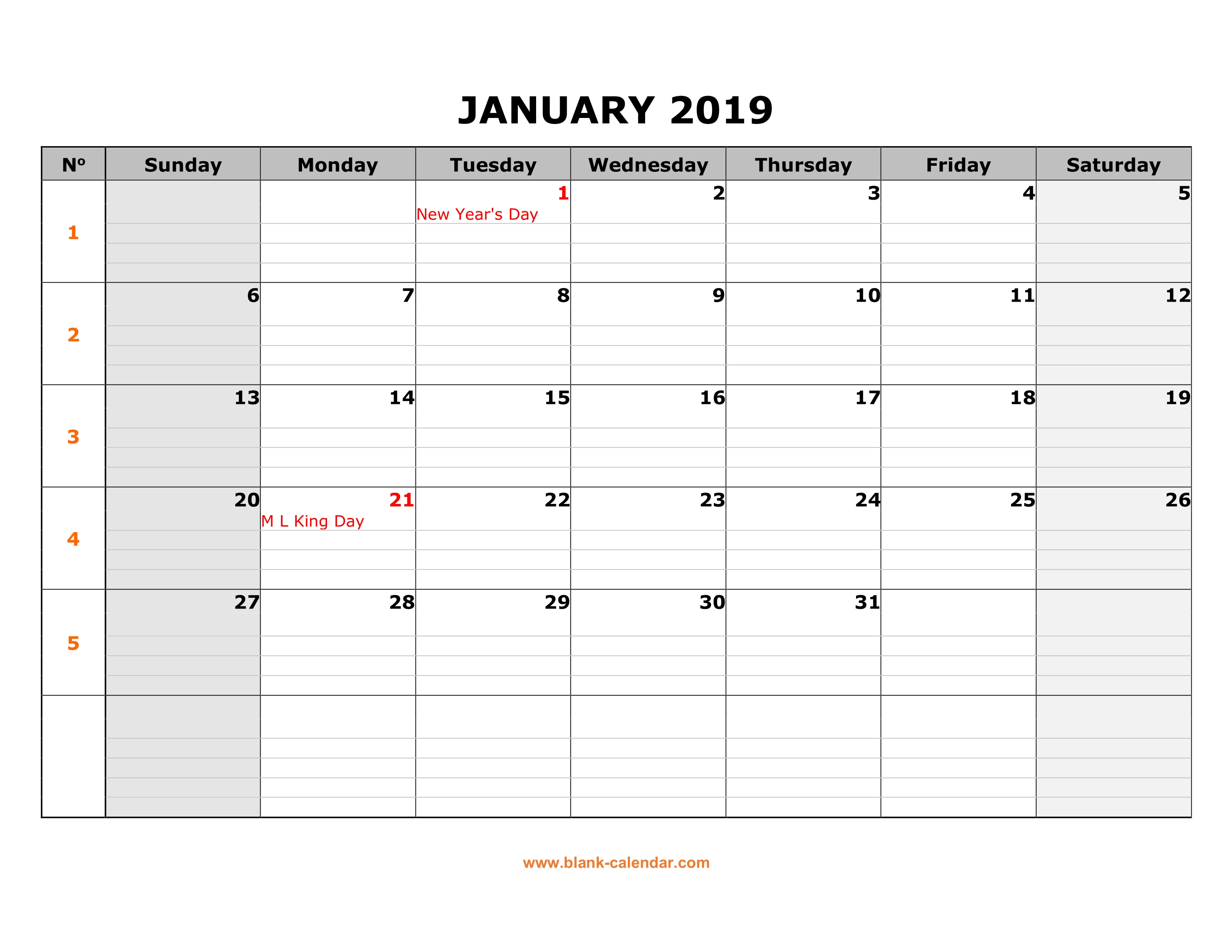 Free Download Printable Calendar 2019, Large Box Grid, Space For Notes - Free Printable Schedule