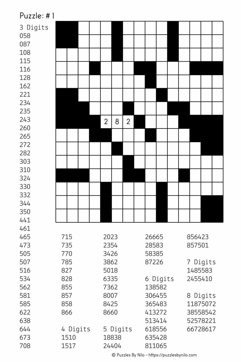 Free Downloadable Number Fill In Puzzle - # 001 | Puzzles - Free Printable Easy Fill In Puzzles