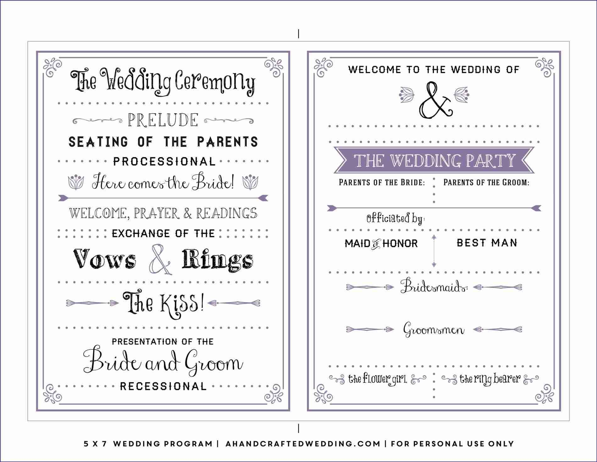 Free Downloadable Wedding Program Template That Can Be Printed - Free Printable Wedding Program Templates Word
