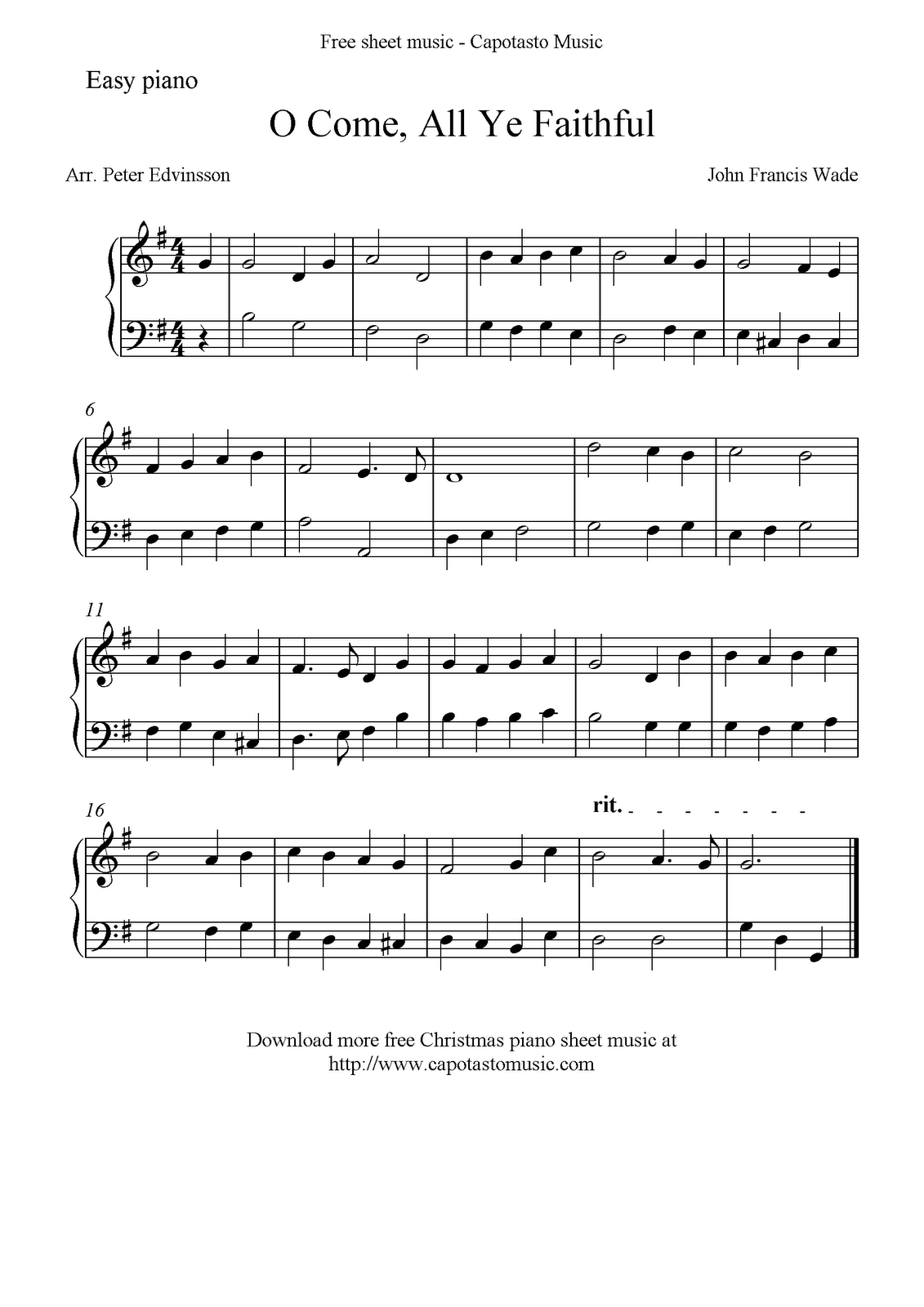 Free Easy Christmas Piano Sheet Music, O Come, All Ye Faithful - Christmas Piano Sheet Music Easy Free Printable