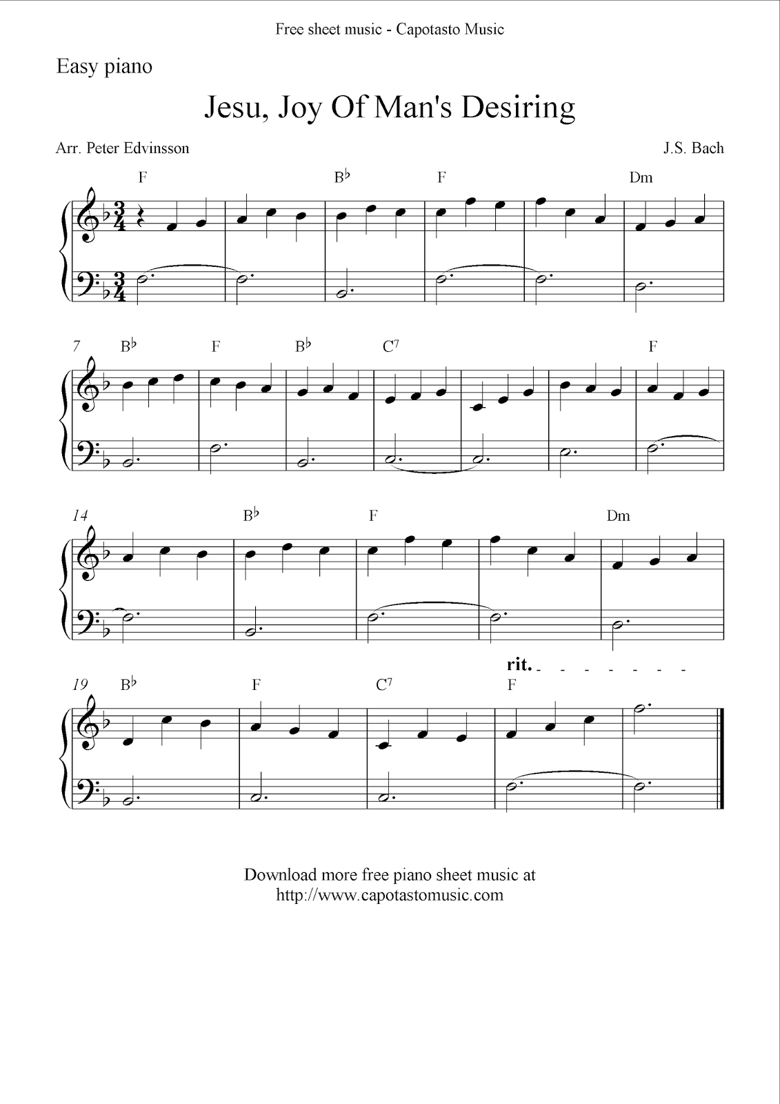Free Easy Solo For Piano With The Melody Jesu, Joy Of Man's Desiring - Beginner Piano Worksheets Printable Free