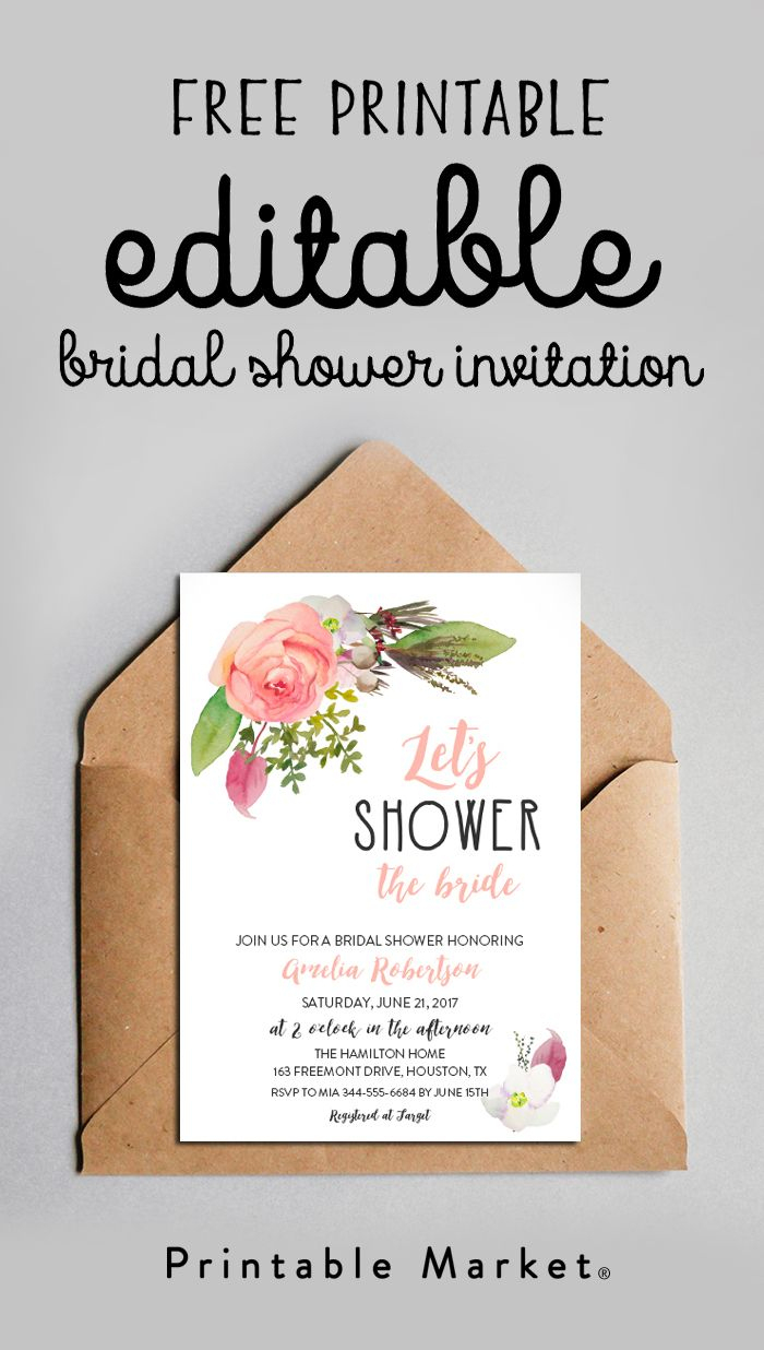 Free Editable Bridal Shower Invitation Watercolor Flowers Pdf - Free Printable Beach Theme Bridal Shower Invitations