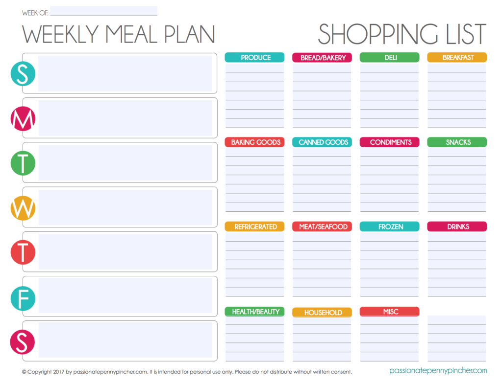 Free Editable Menu Plan And Grocery List! | Passionate Penny Pincher - Free Printable Grocery List And Meal Planner