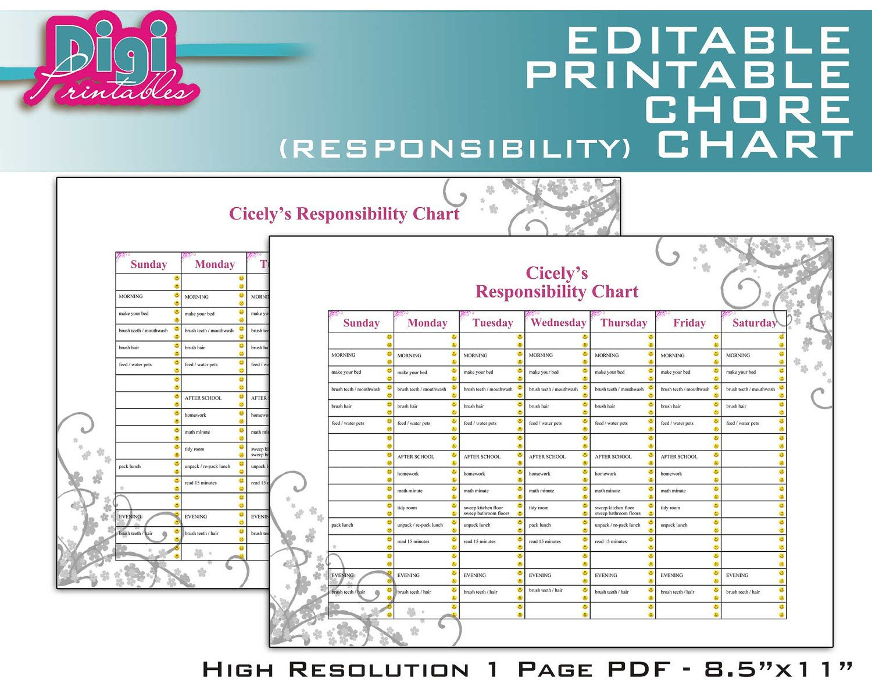 Free Family Chore Charts Printable | Editable / Printable Chore - Free Printable Chore List For Teenager