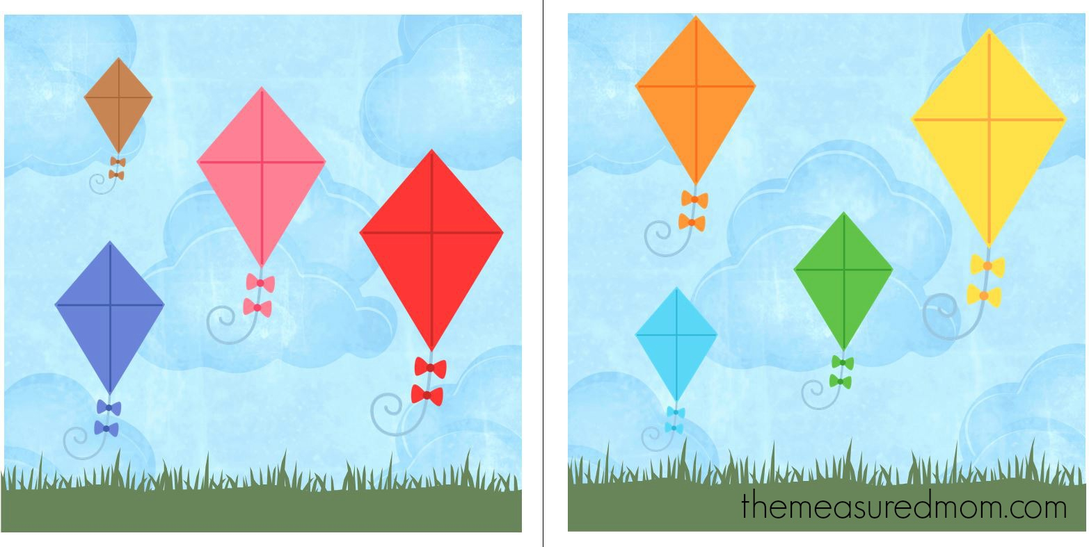 Free File Folder Game For Preschoolers: Kites! - The Measured Mom - Free Printable Folder Games