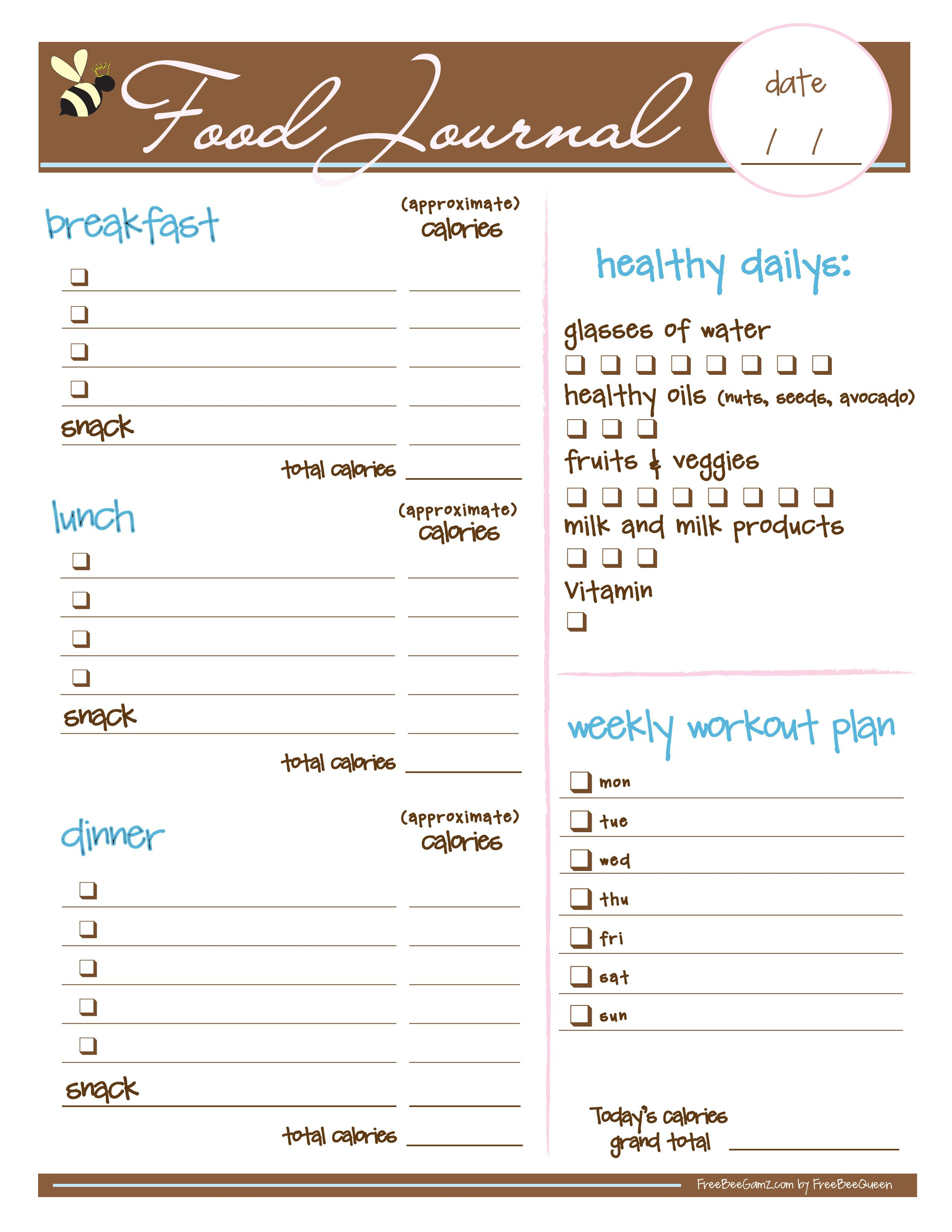 Free Food Journal. I Love This I Just Printed It And It Looks - Free Printable Calorie Counter Journal