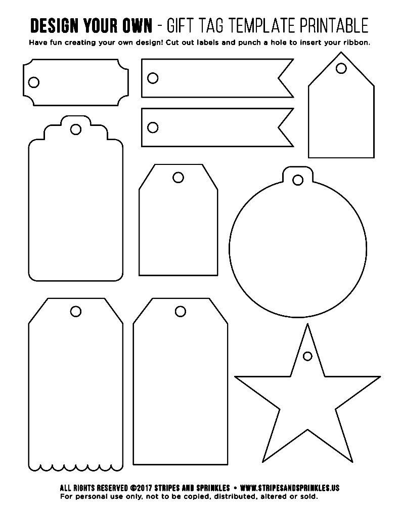 Free Gift Tag Template Printable - Stripes & Sprinkles - Free Printable Blank Gift Tags