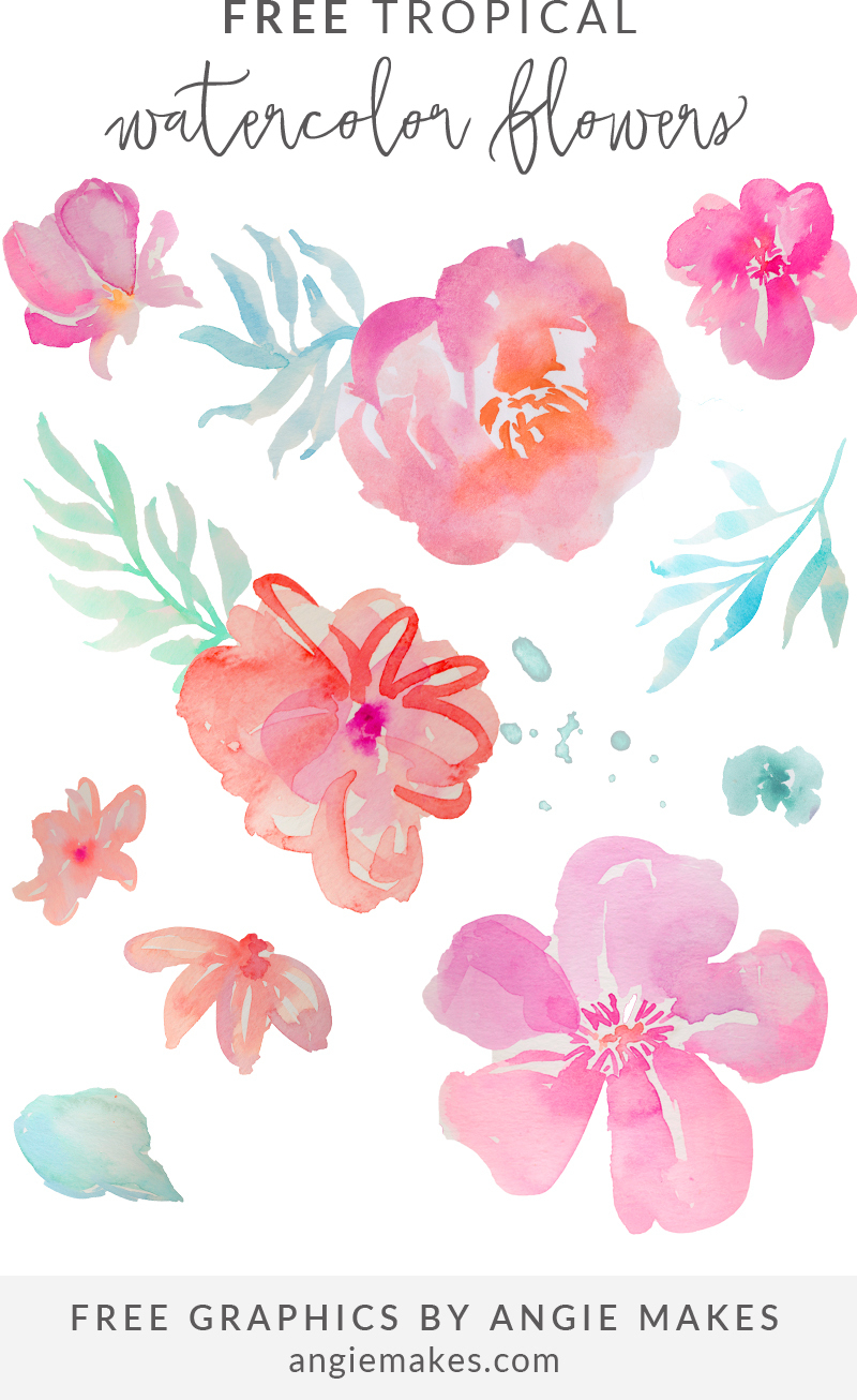 Free Girly Graphics And Watercolor Clip Art- Angie Makes - Free Printable Clip Art Flowers