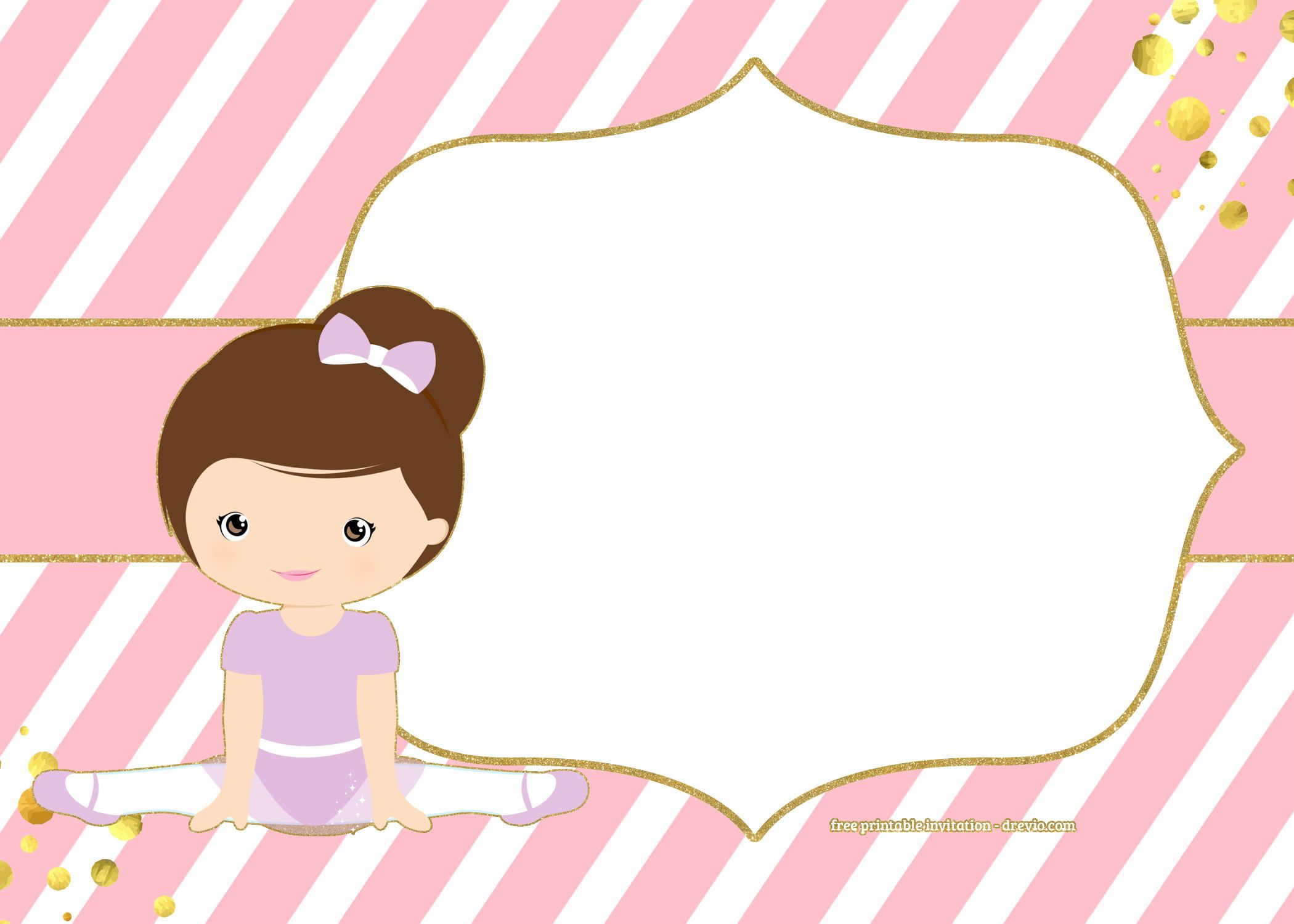 Free Golden Ballerina Birthday Invitation | Chip Bags Templates - Free Printable Ballerina Birthday Invitations