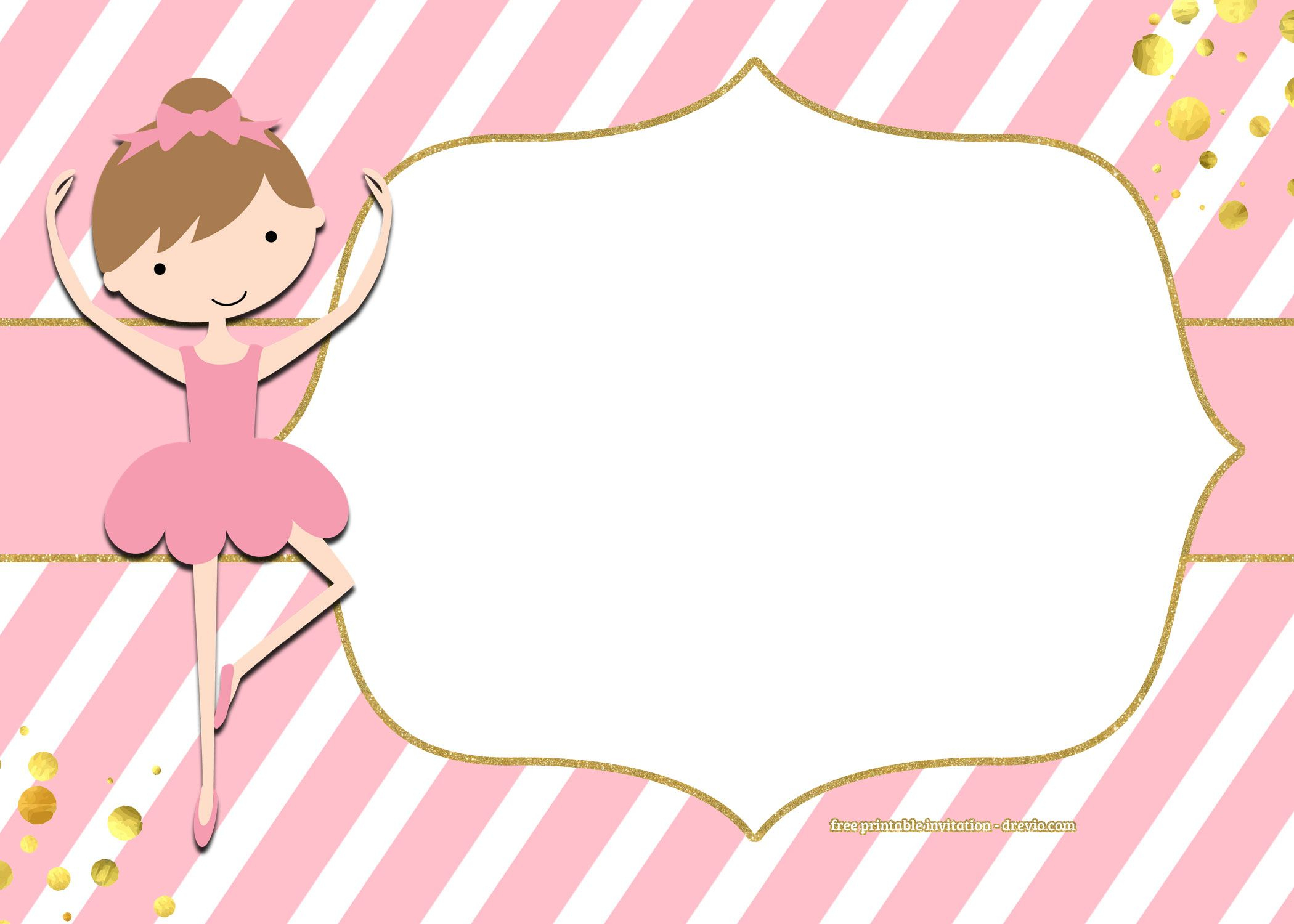 Free Golden Ballerina Birthday Invitation | Free Printable - Free Printable Ballerina Birthday Invitations