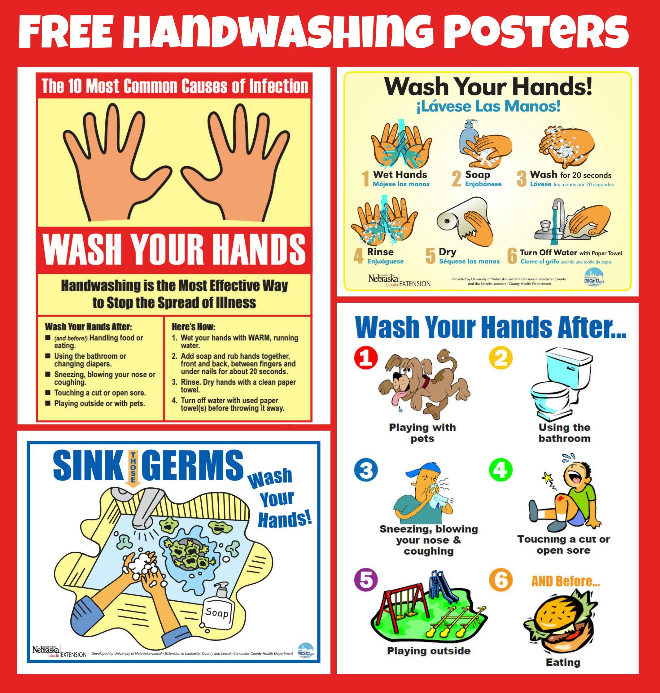 Free #handwashing Posters | Home Economics | Pinterest | Hand - Free Printable Hand Washing Posters