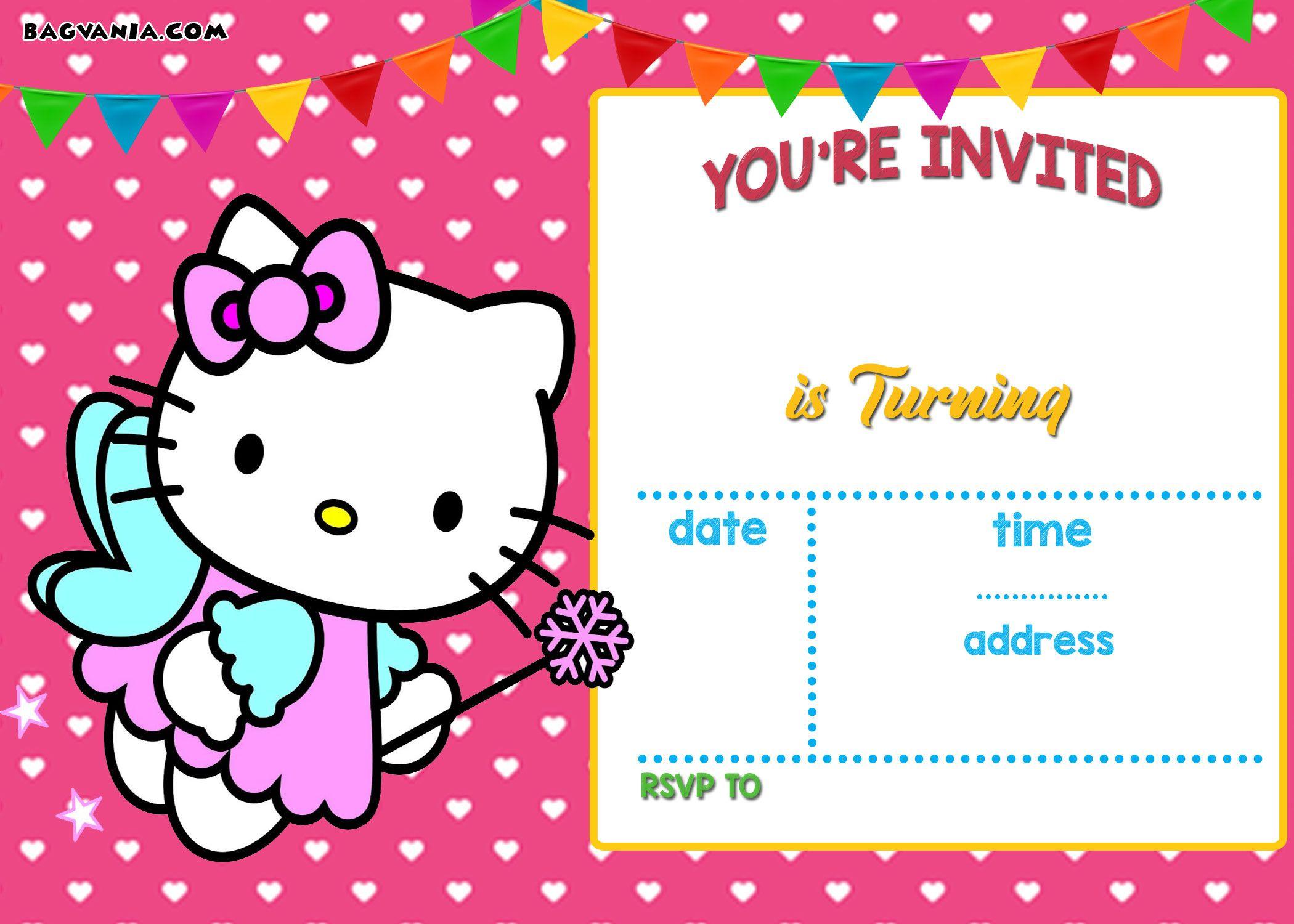 Free Hello Kitty Invitation   Free Printable Birthday Invitation - Printable Invitations Free No Download