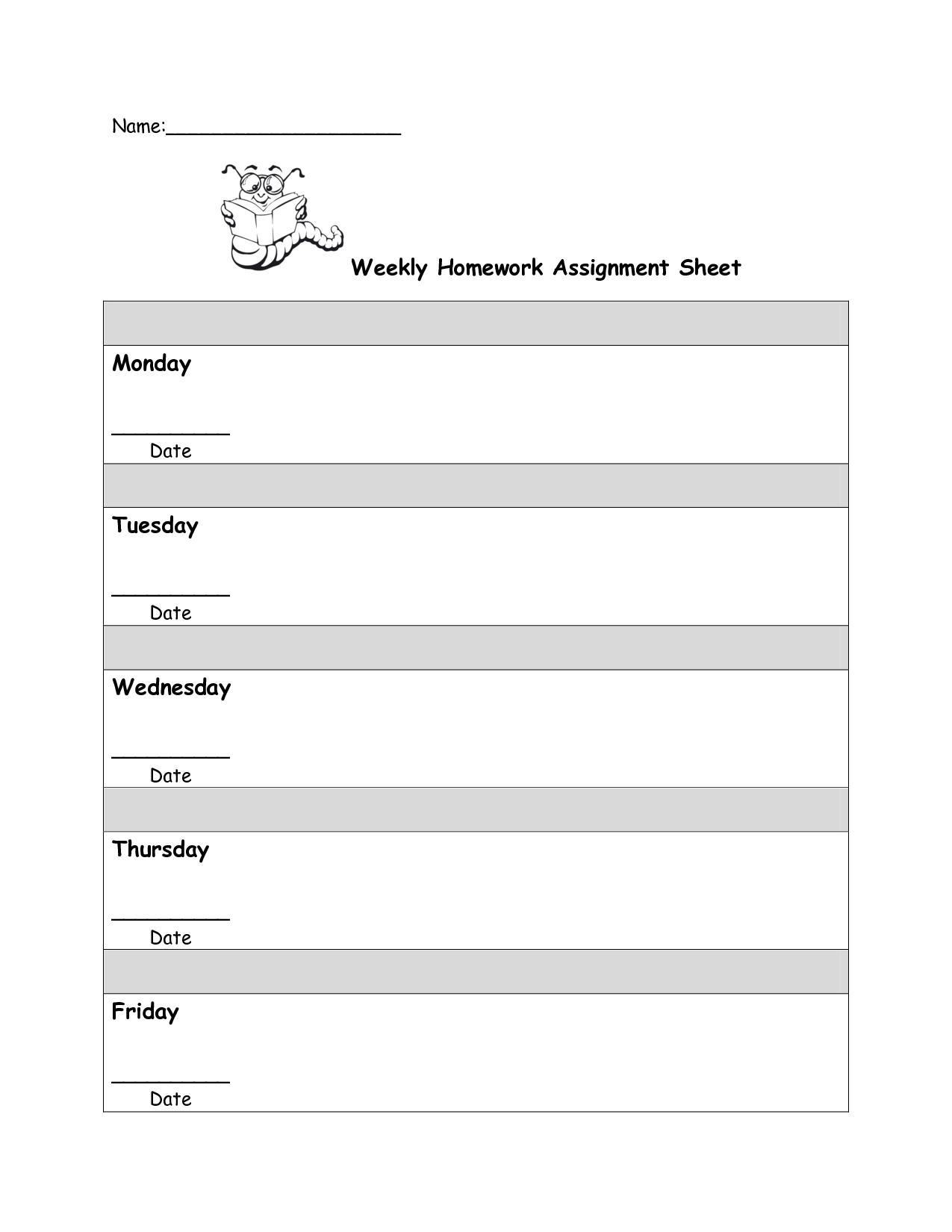 Free Homework Assignment Sheet Template Cakepins   Reading - Free Printable Homework Assignment Sheets