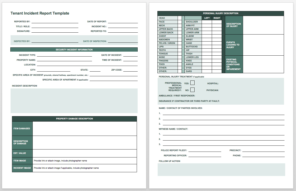 Free Incident Report Templates Smartsheet - Free Printable Incident Report Form