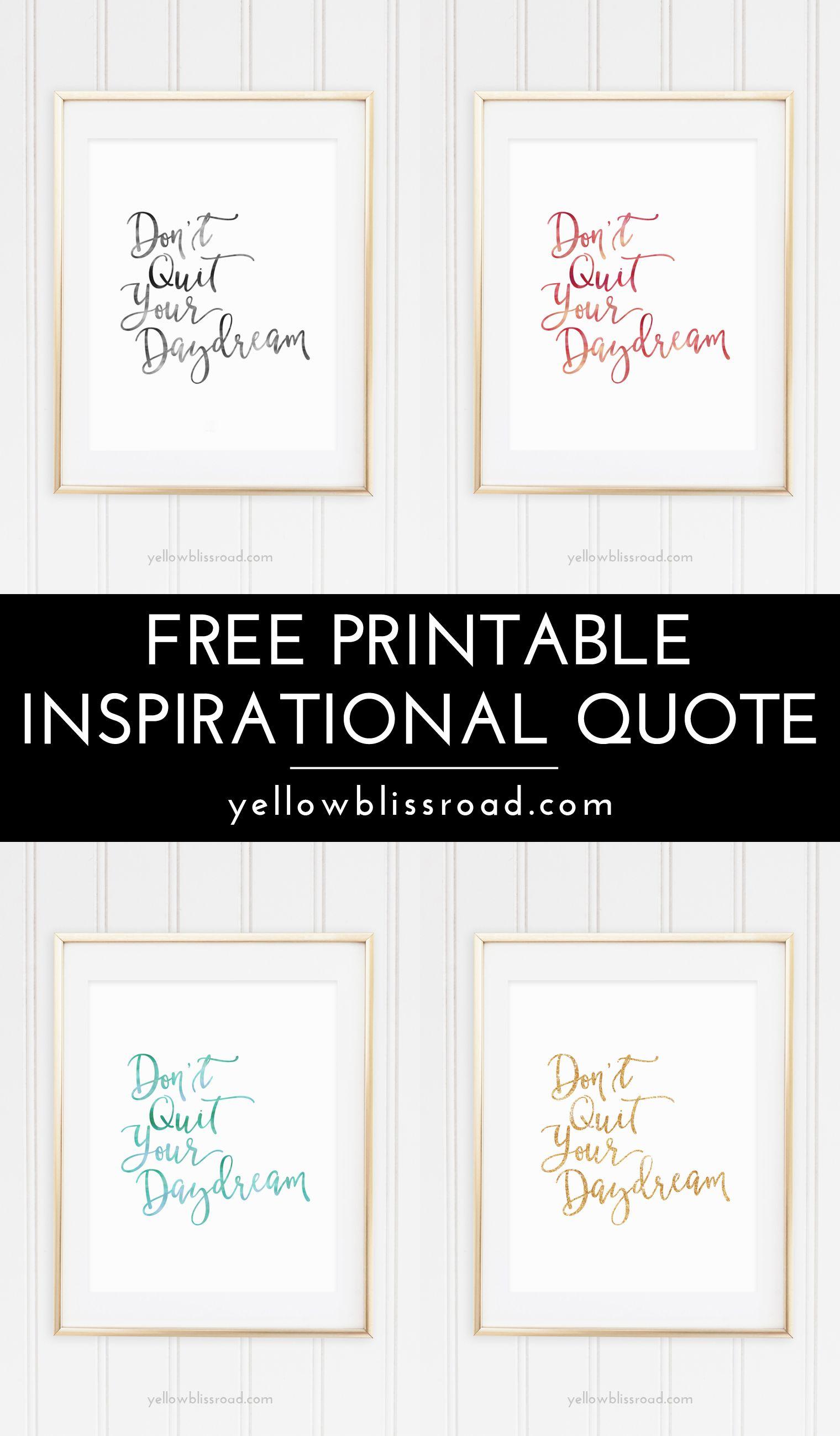 Free Inspiration Quote Printable   Free Printable Wall Art, Quotes - Free Printable Quotes Templates