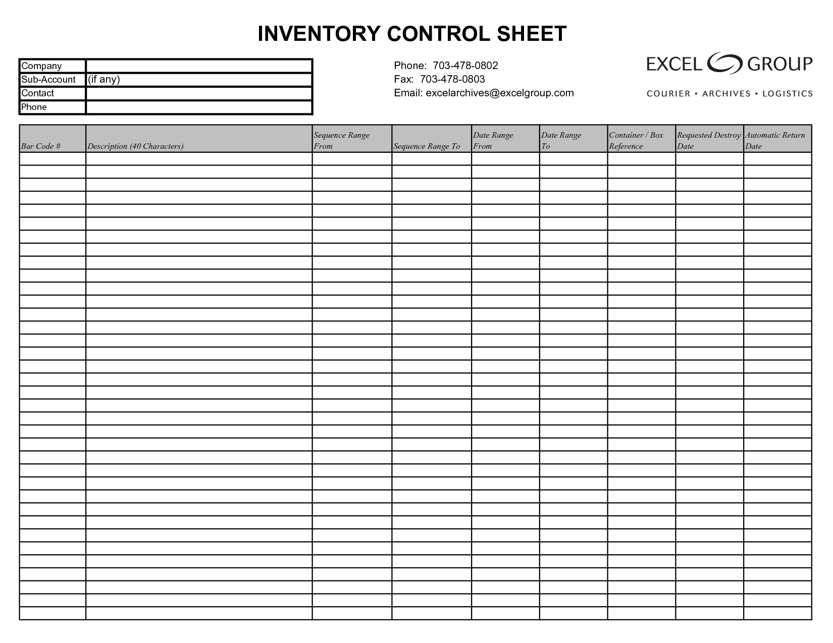 Free Inventory Management Template Excel Inventory Tracking - Free Printable Inventory Sheets Business