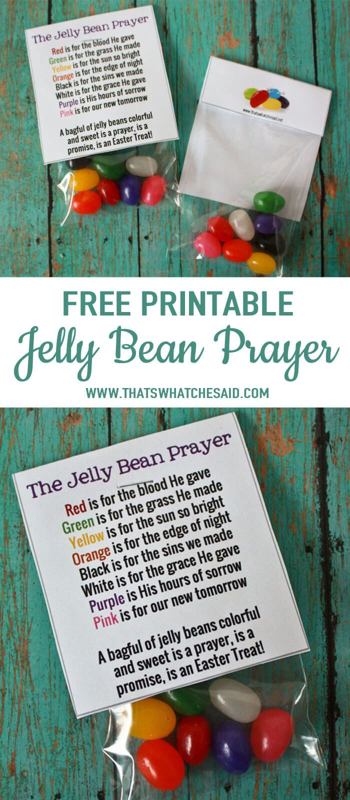 Free Jelly Bean Prayer Printable Treat Topper | Easter | Pinterest - Free Printable Easter Sermons