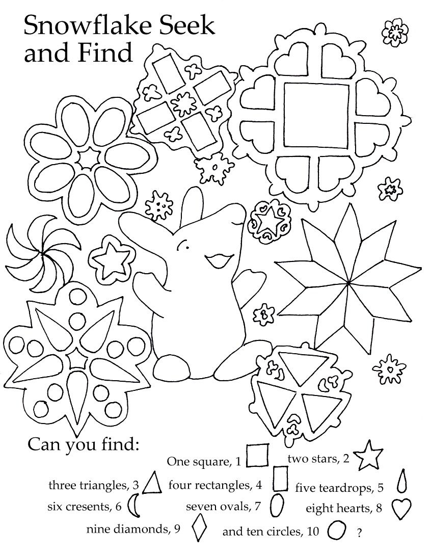 Free Kids Printable. Great Seek And Find For Shapes And Winter Quiet - Free Printable Seek And Find