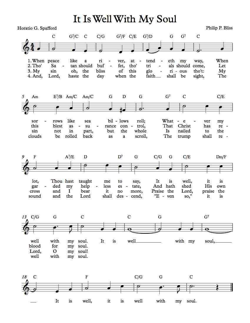 Free Lead Sheet – It Is Well With My Soul - Free Printable Gospel Music Lyrics