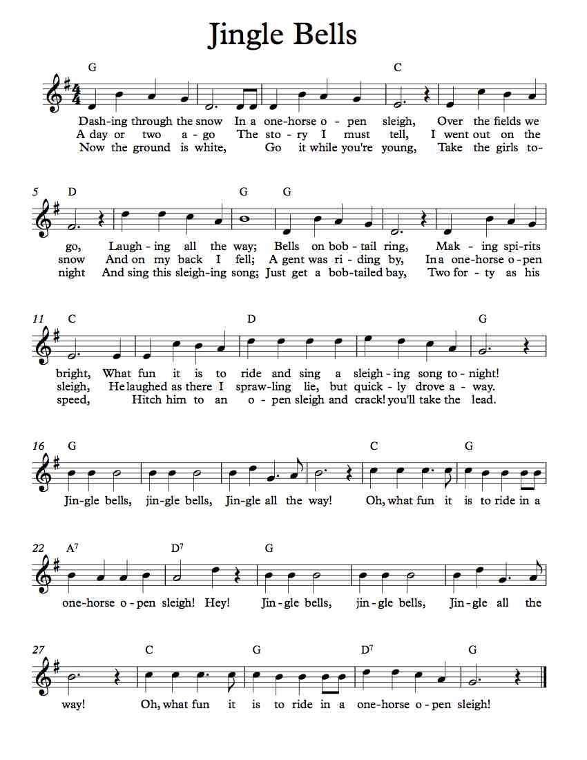 Free Lead Sheet – Jingle Bells   Free Lead Sheets   Music, Lead - Free Printable Sheet Music Lyrics