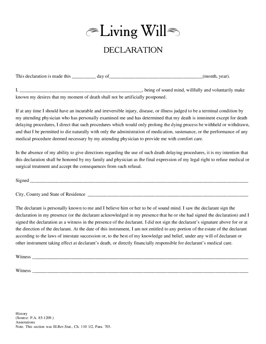 Free Living Will Form - Edit, Fill, Sign Online | Handypdf - Free Online Printable Living Wills