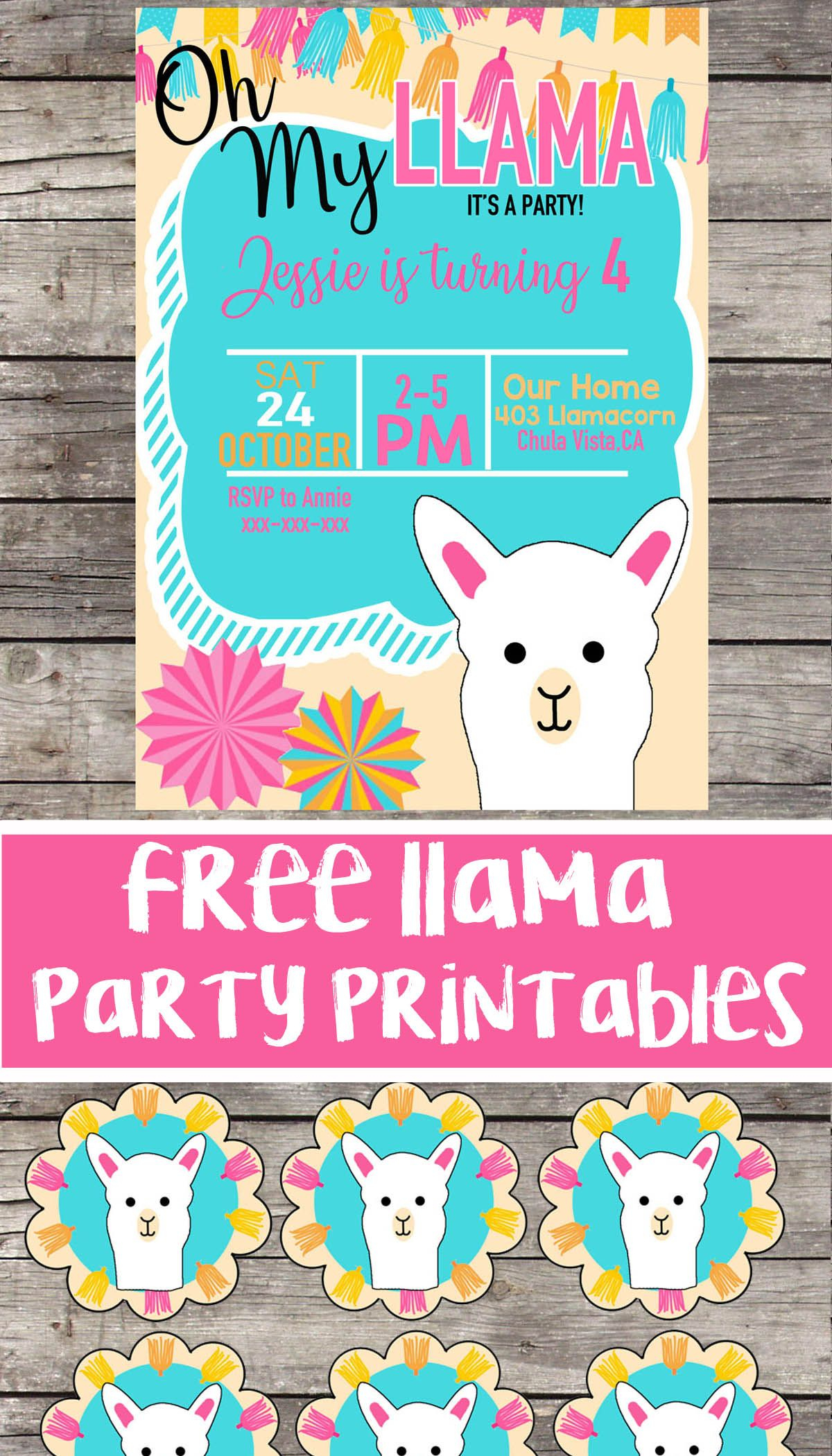 Free Llama Birthday Party Printable Files | Invitation | Cupcake - Free Stork Party Invitations Printable