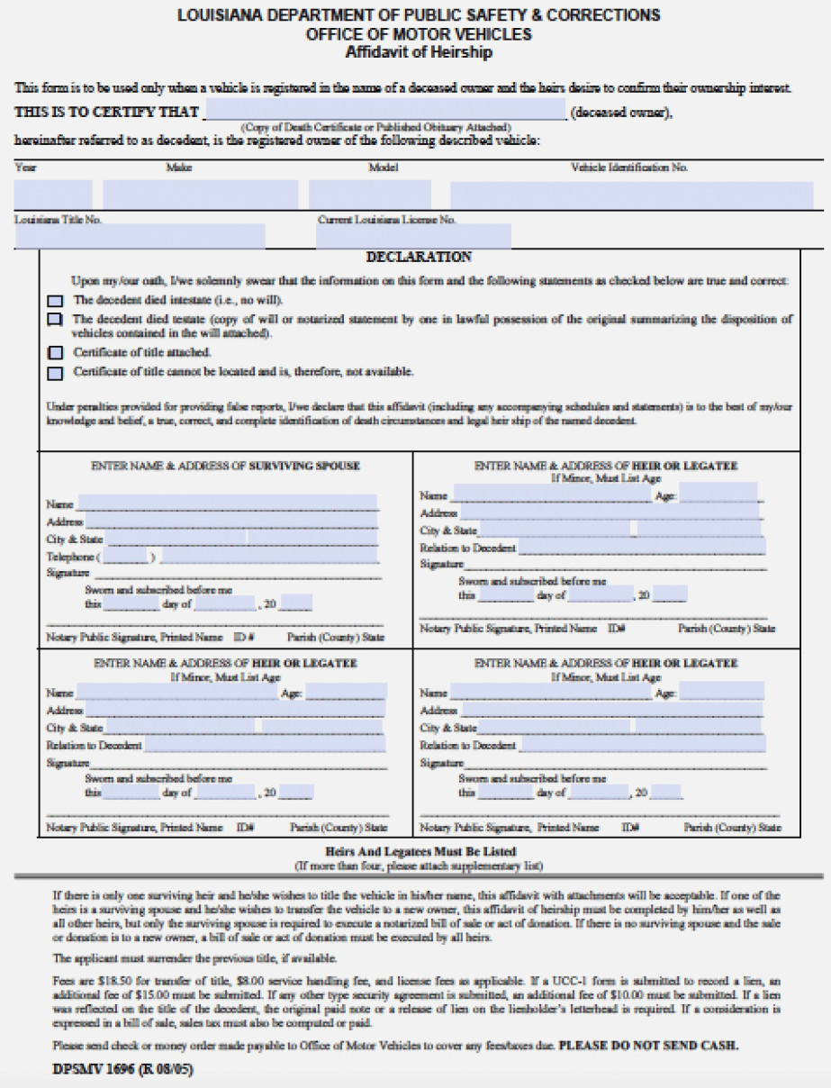 Free Louisiana Affidavit Of Heirship (Vehicles Only) Form | Pdf - Free Printable Divorce Papers For Louisiana