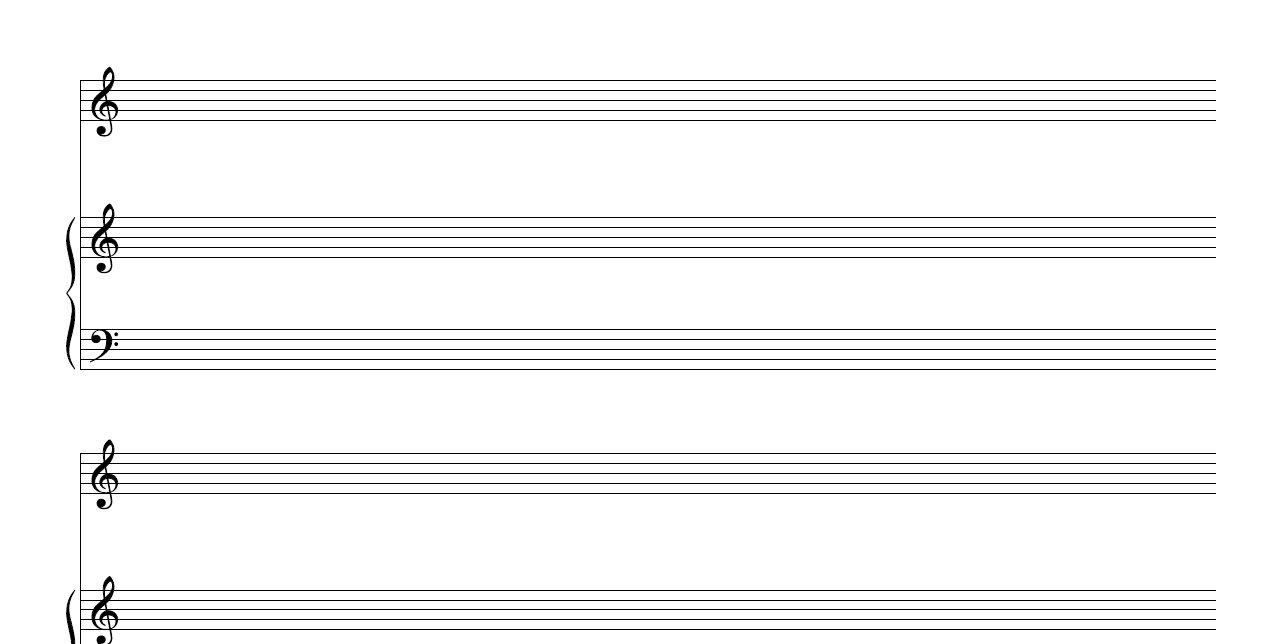 Free Manuscript Blank Piano Vocal Staff Pdf Download - Free Printable Grand Staff Paper