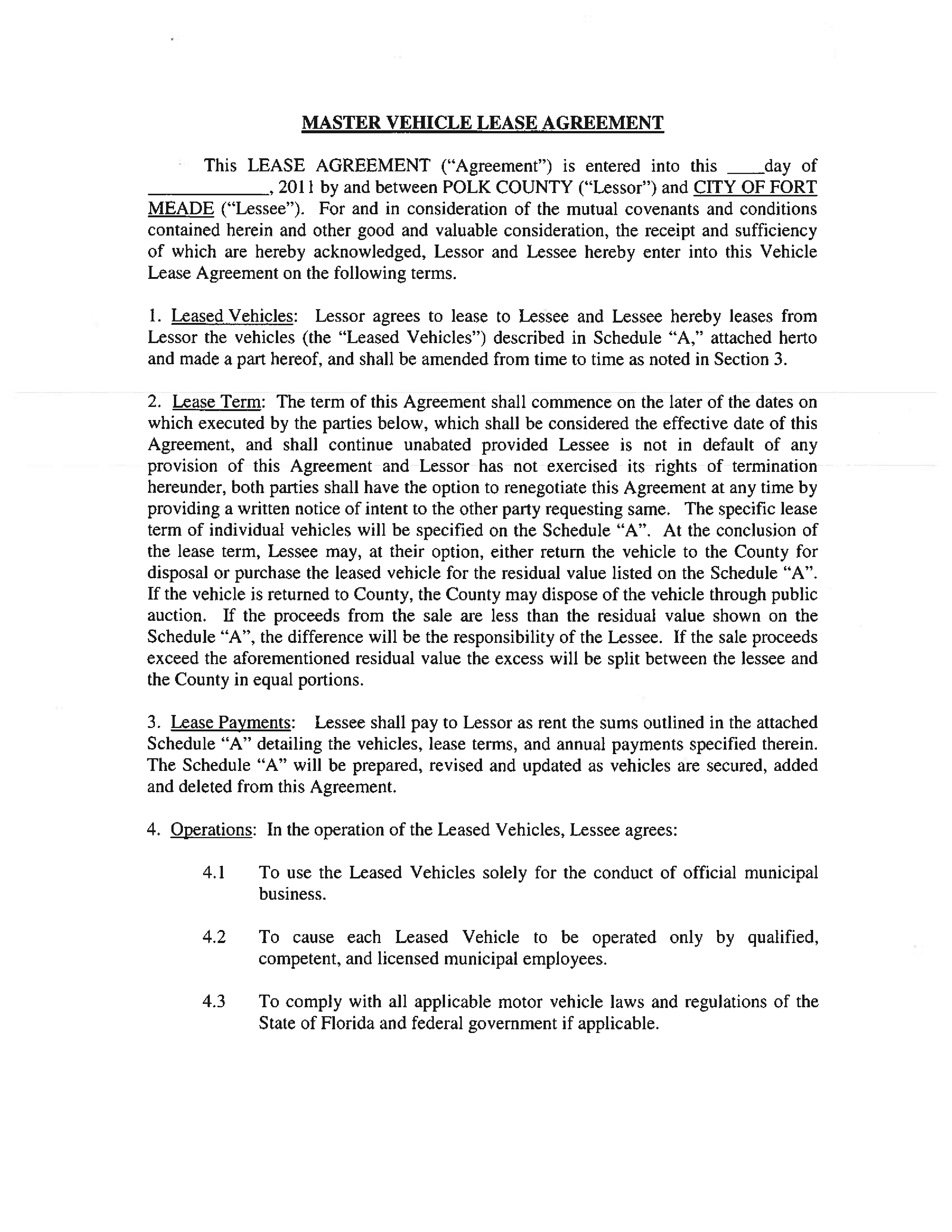 Free Master Vehicle Lease Agreement | Templates At - Free Printable Vehicle Lease Agreement