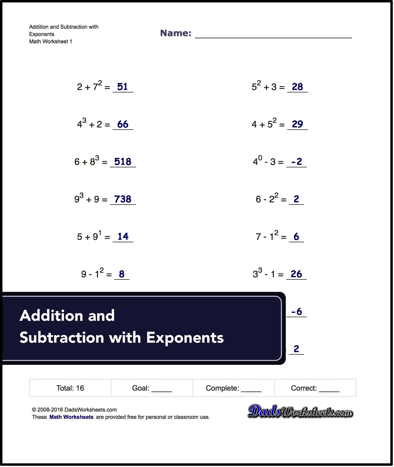 Free Math Worksheets For Exponents Problems ** ** #free #printables - Free Printable Exponent Worksheets