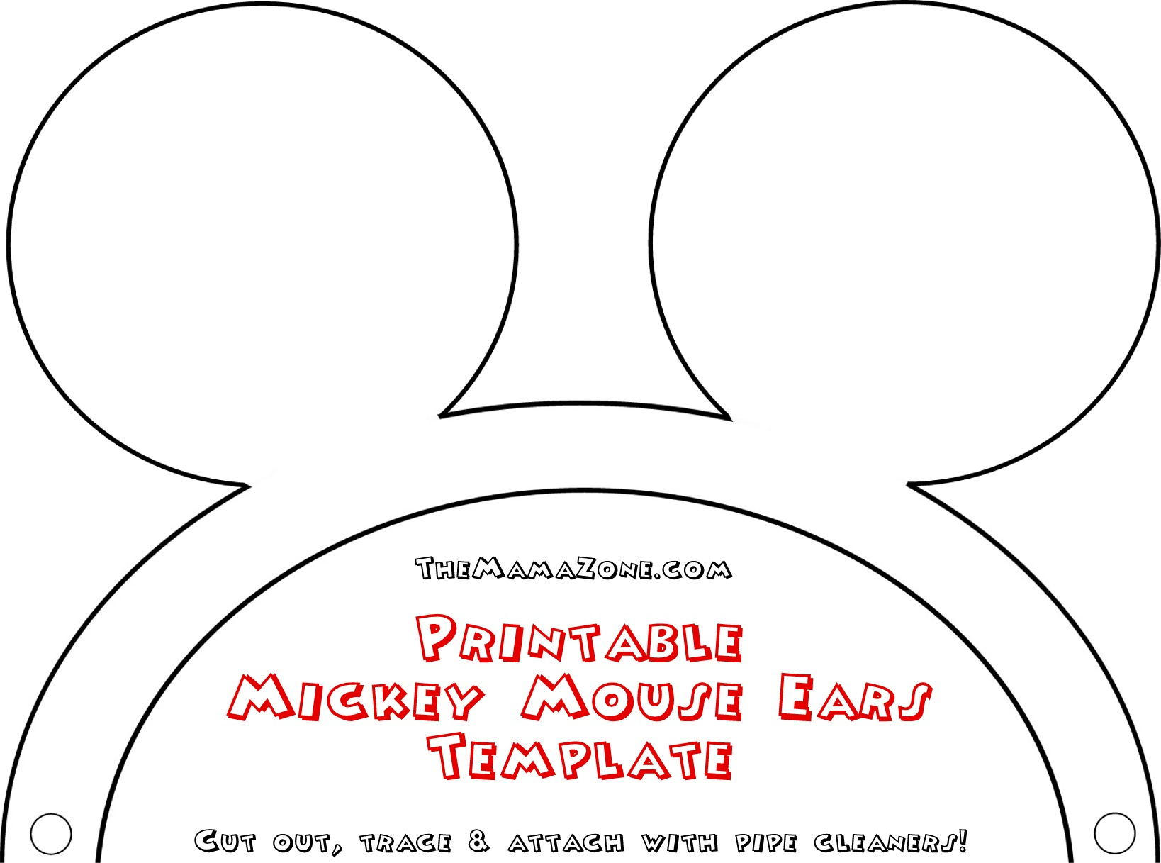 Free Mickey Mouse Ears Template | The Mama Zone - Free Printable Mickey Mouse Template