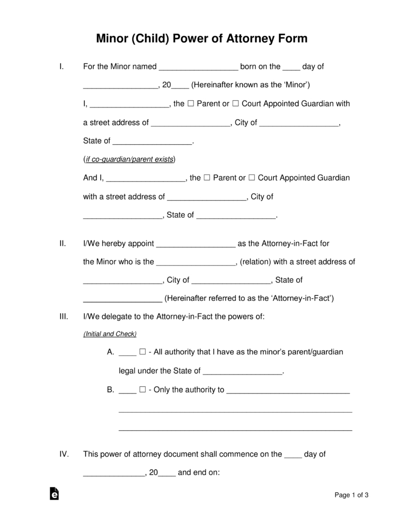 Free Minor (Child) Power Of Attorney Forms - Pdf | Word | Eforms - Free Printable Child Guardianship Forms