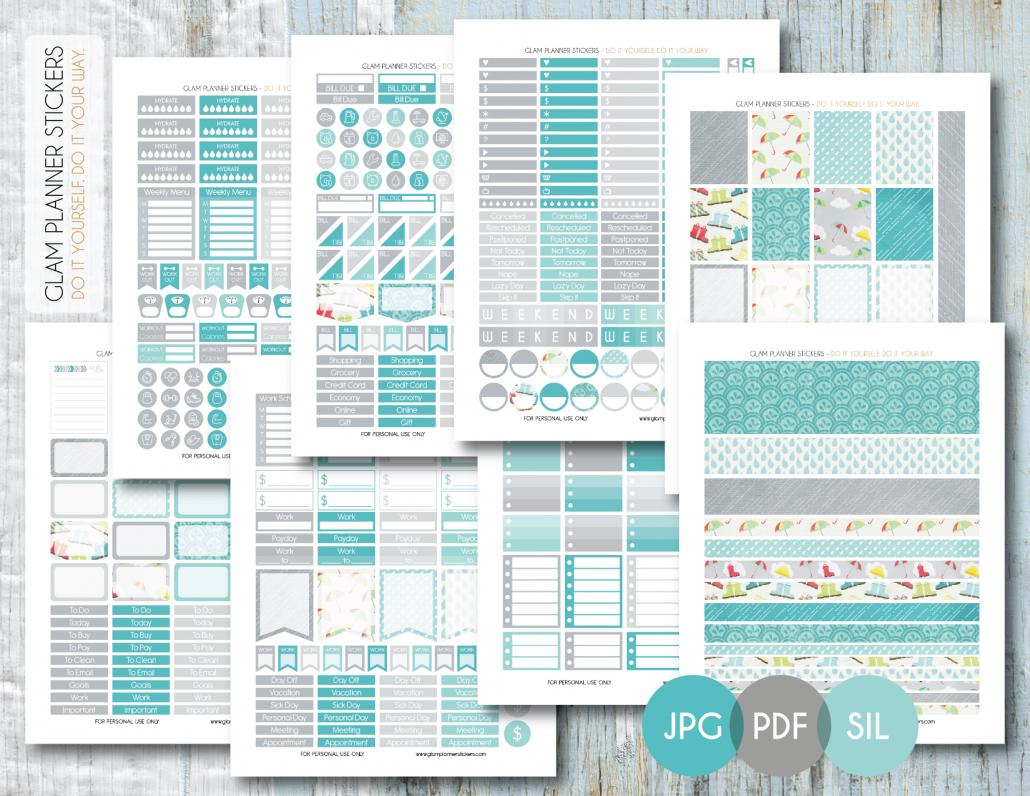 Free Monthly Printable Planner Stickers Set - Rainy Day - Erin - Printable Erin Condren Stickers Free