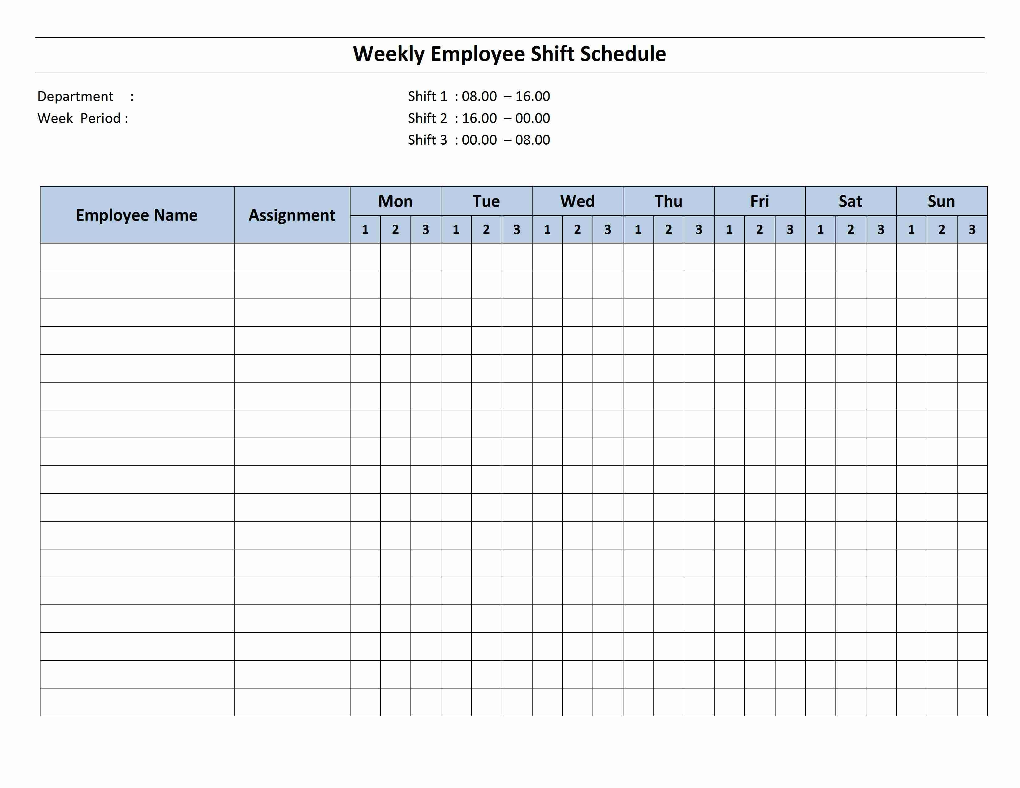 Free Monthly Work Schedule Template   Weekly Employee 8 Hour Shift - Free Printable Weekly Work Schedule