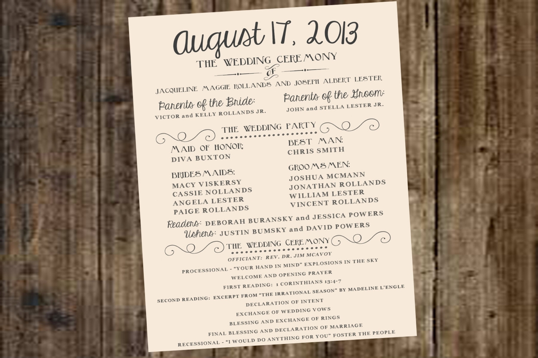 Free One Page Wedding Program Templates For Microsoft Word Klejonka - Free Printable Wedding Program Templates Word