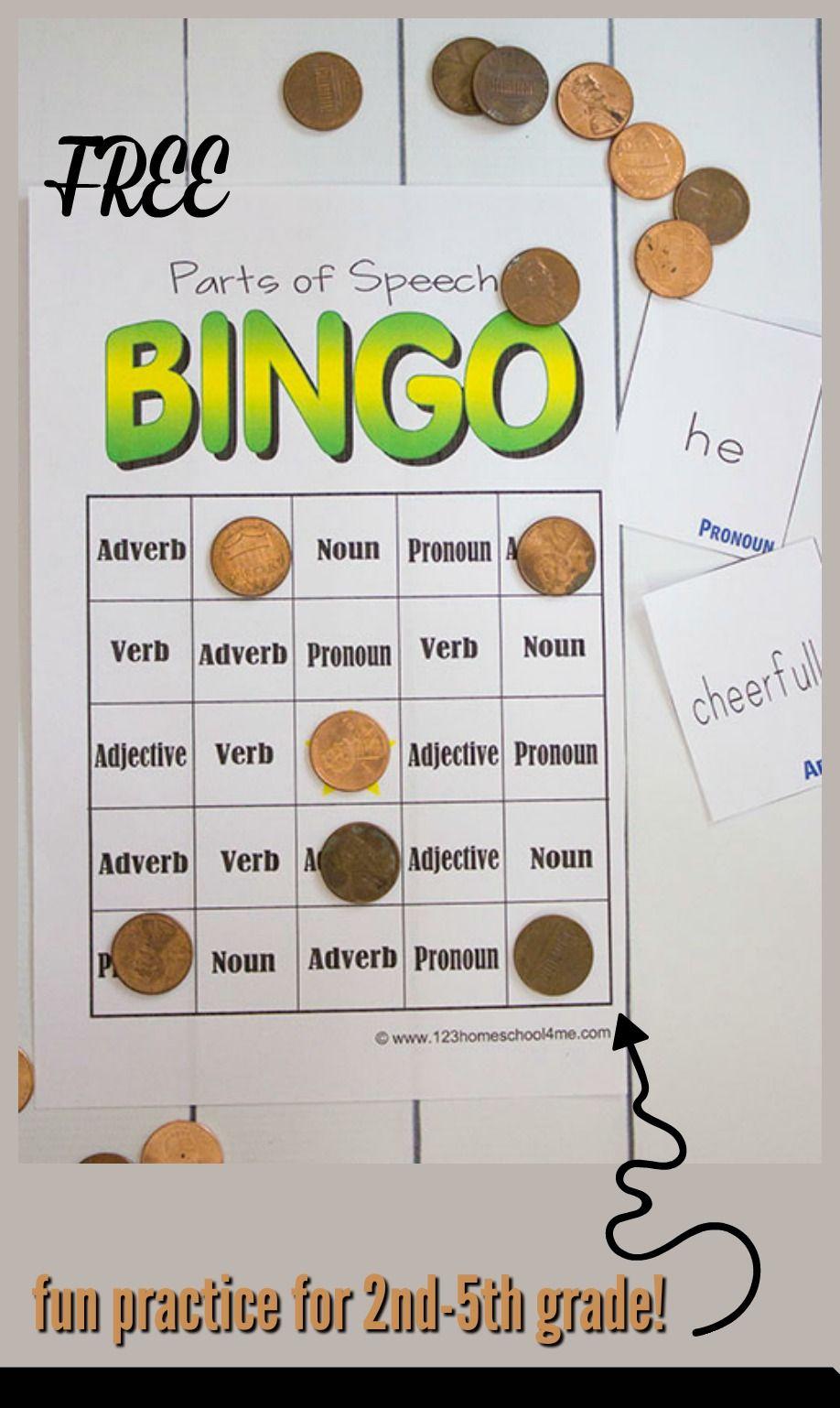Free Parts Of Speech Game | Kindergarten | Parts Of Speech, Parts Of - Free Printable Parts Of Speech Bingo