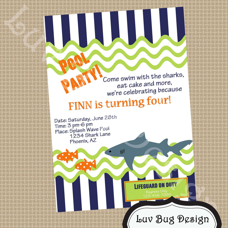 Free Party Invitation Templates   Free Printable Pool Party - Free Printable Pool Party Birthday Invitations