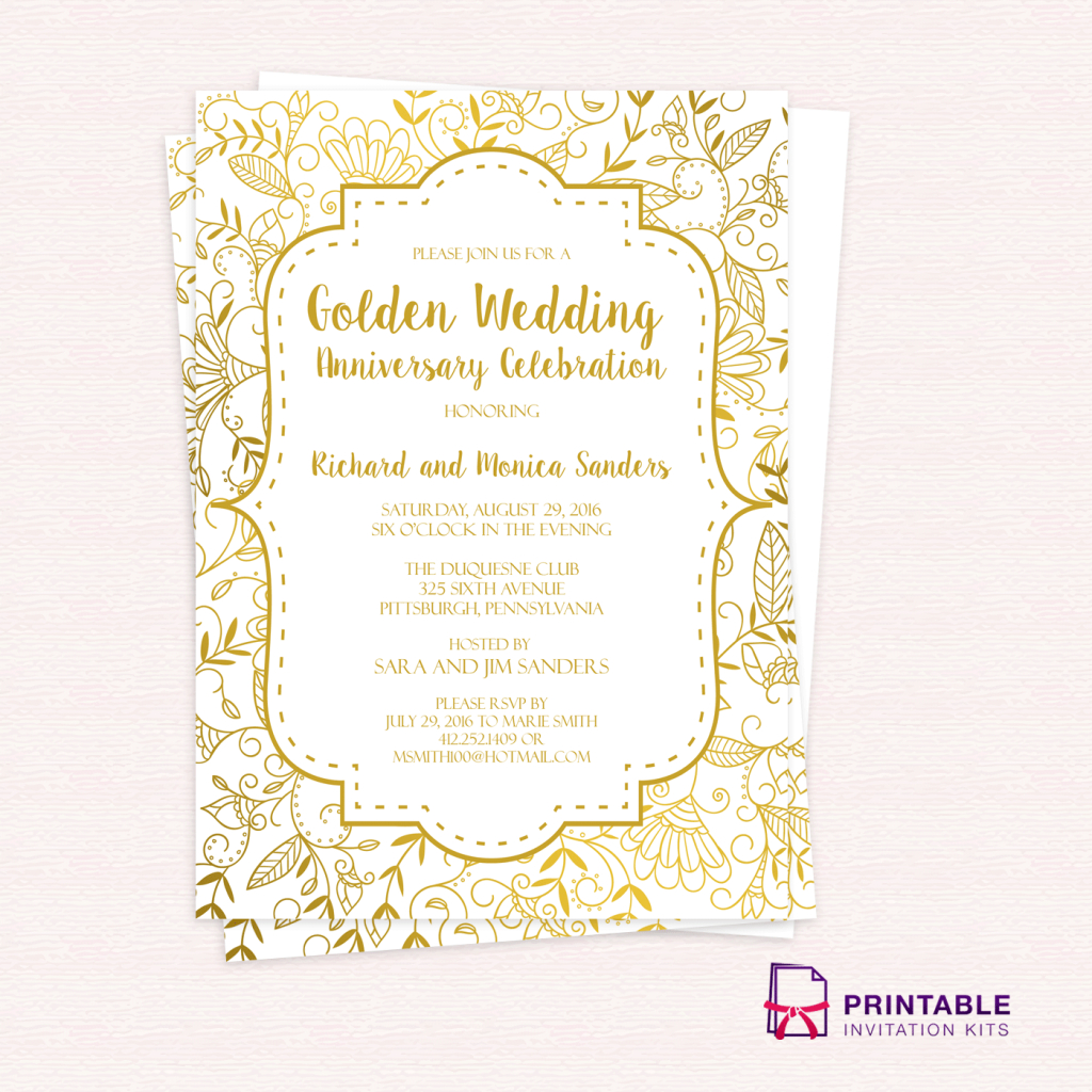 Free Pdf Template - Golden Wedding Anniversary Invitation Template - Free Printable 50Th Anniversary Cards