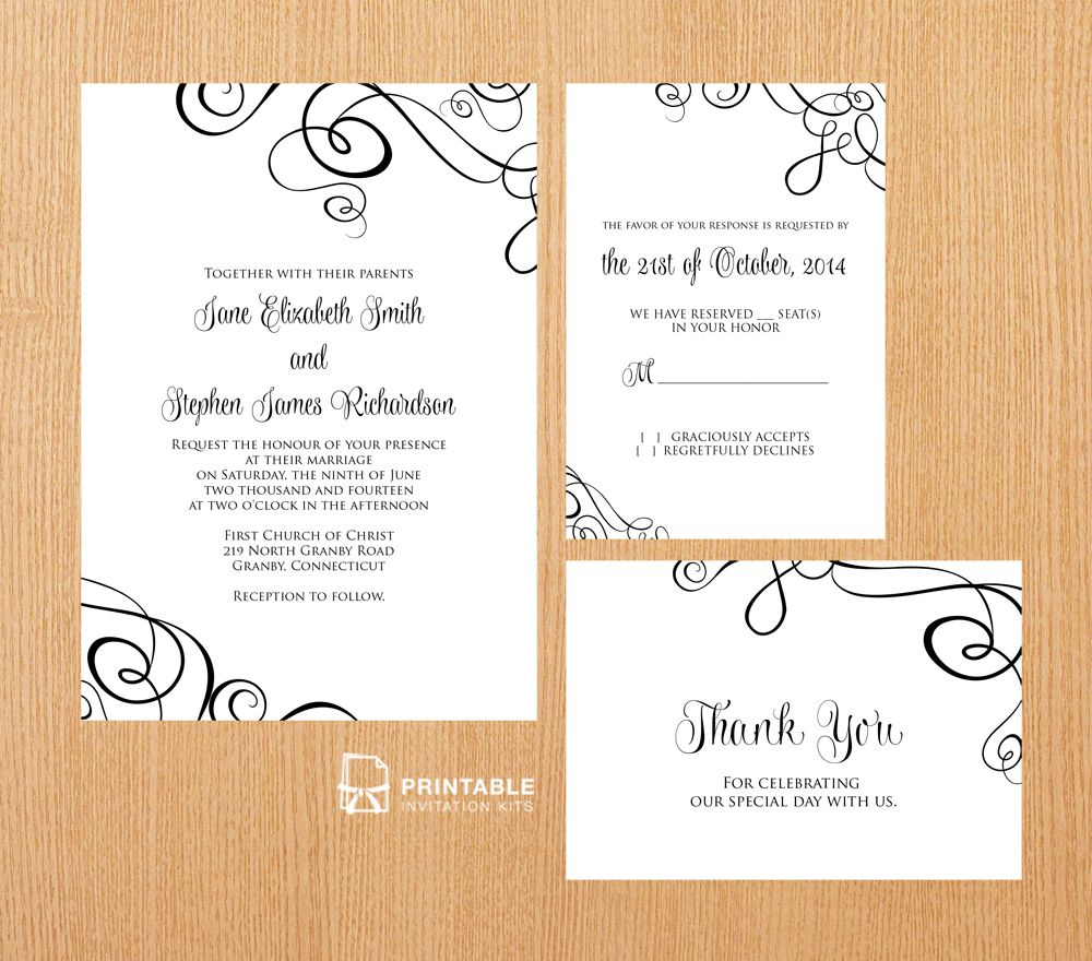 Free Pdf Templates. Easy To Edit And Print At Home. Elegant Ribbon - Free Printable Rsvp Cards