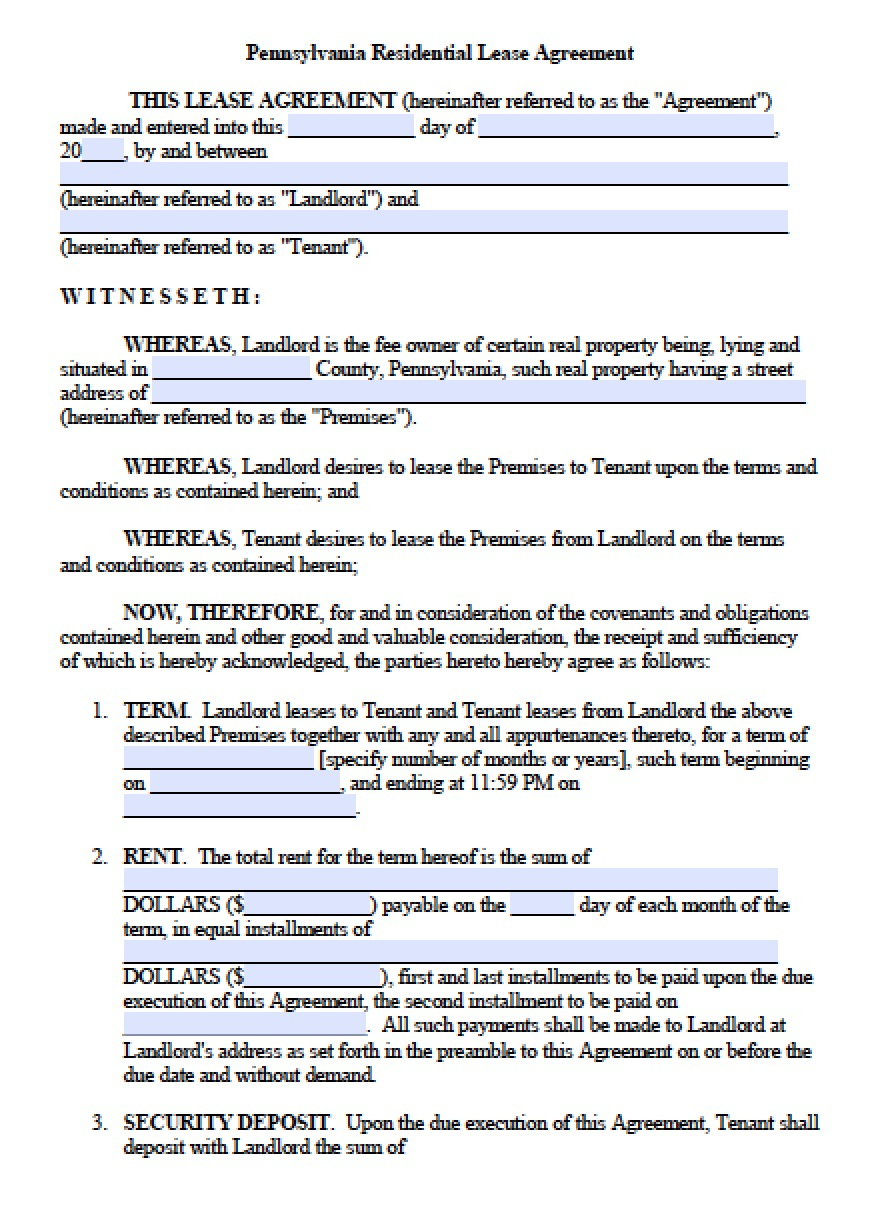 Free Pennsylvania Residential Lease Agreement | Pdf | Word (.doc) - Free Printable Lease Agreement Pa