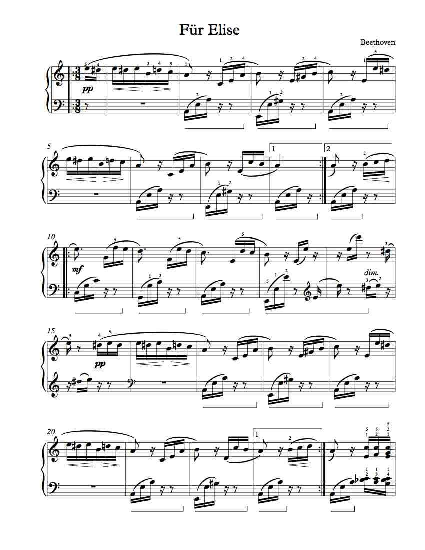 Free Piano Sheet Music – Für Elise | Free Sheet Music | Pinterest - Free Printable Piano Sheet Music Fur Elise