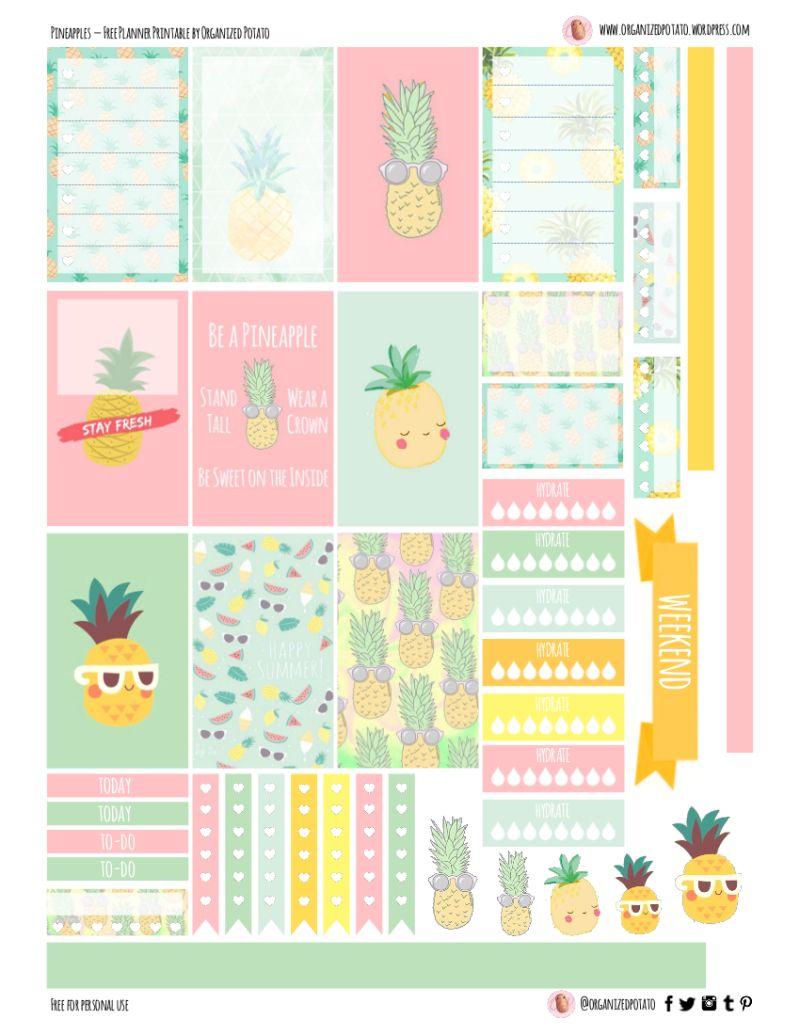 Free Planner Printable: Pineapples   Printables   Pinterest - Free Printable Stickers
