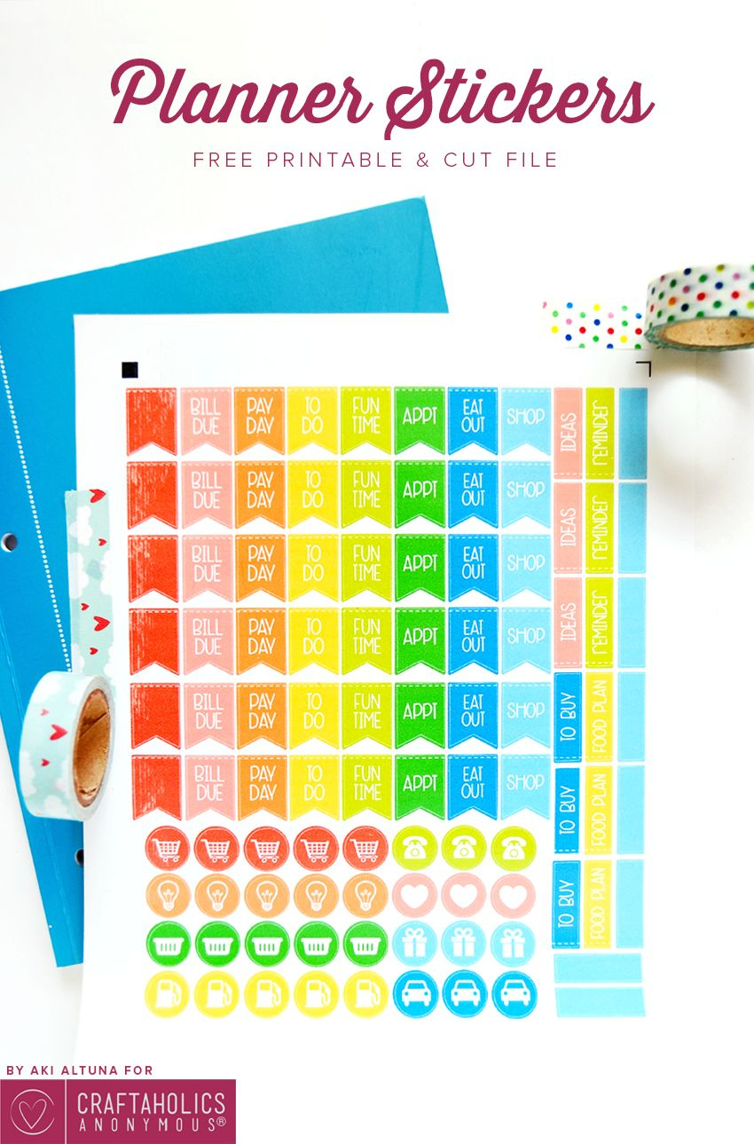 Free Planner Stickers Printable + Svg Cut File | Silhouette Planners - Free Printable Keyboard Stickers