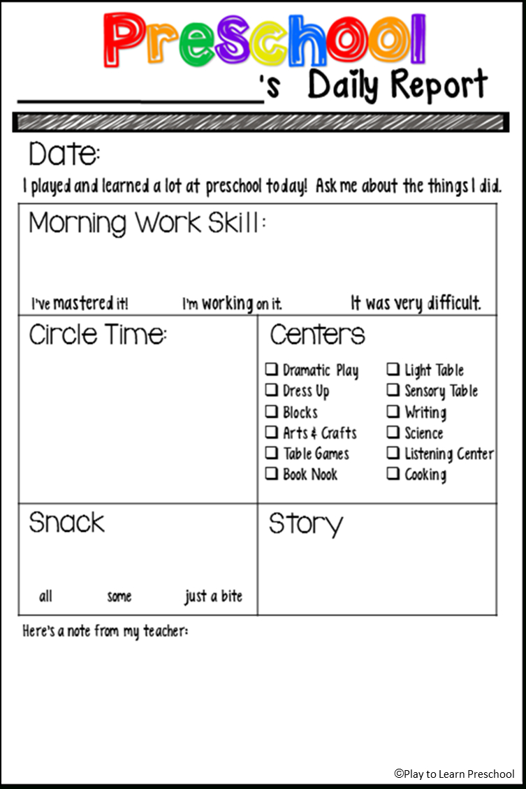 Free Preschool Daily Report From Play To Learn Preschool | Classroom - Preschool Assessment Forms Free Printable