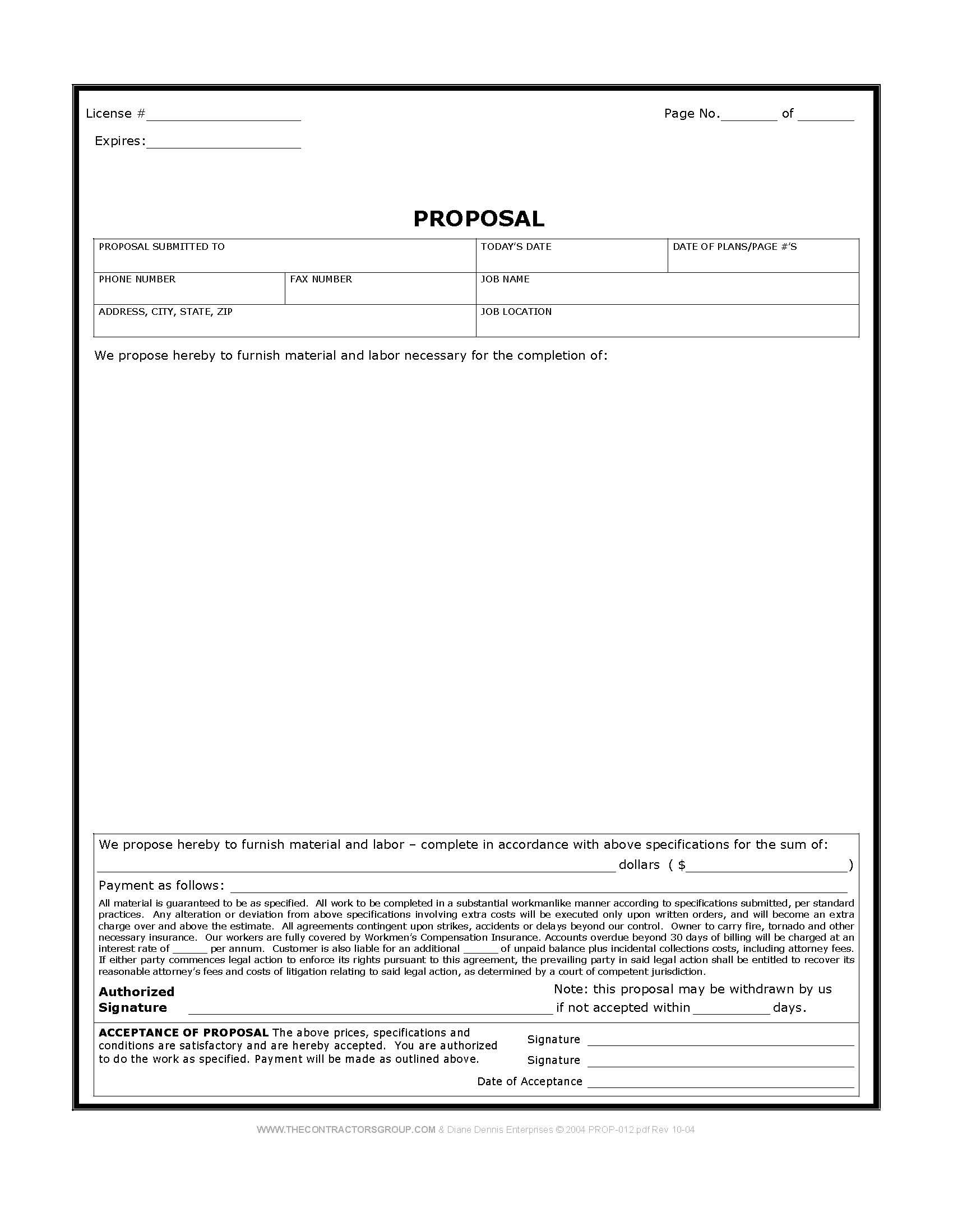 Free Print Contractor Proposal Forms | Construction Proposal Form - Free Printable Job Quote Forms