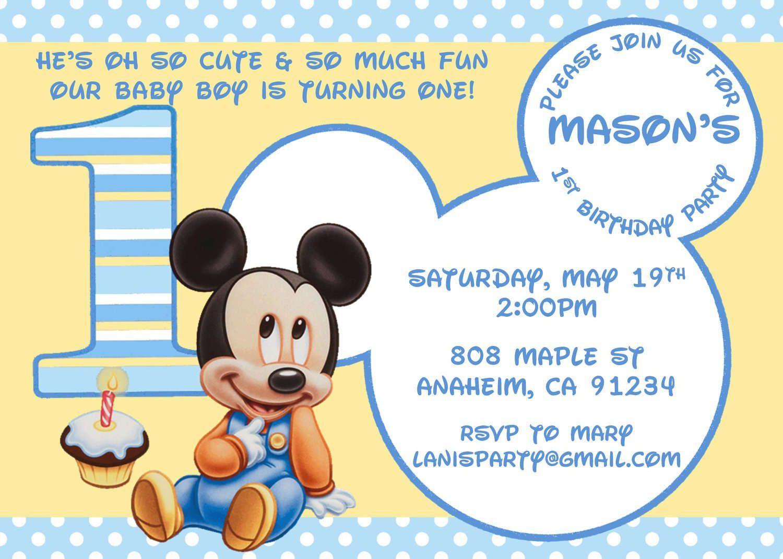 Free-Printable-1St-Birthday-Princess-Invitations | Birthday - Free Printable Baby Mickey Mouse Birthday Invitations