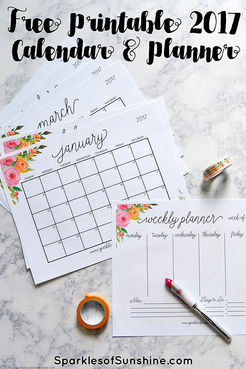 Free Printable 2017 Monthly Calendar And Weekly Planner - Free Printable Organizer 2017